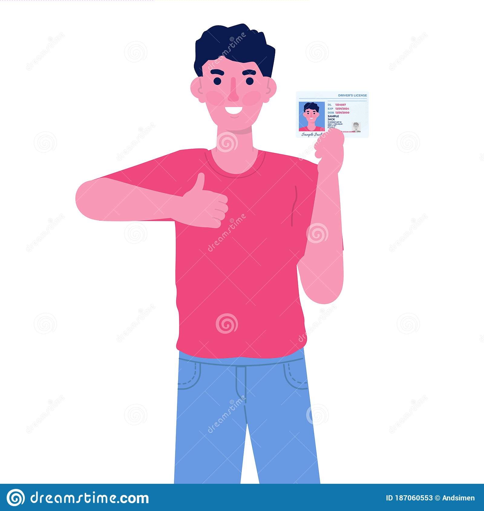 Man Holding In Hand Car Driver License Plastic Card. Stock Vector -  Illustration of name, citizen: 187060553
