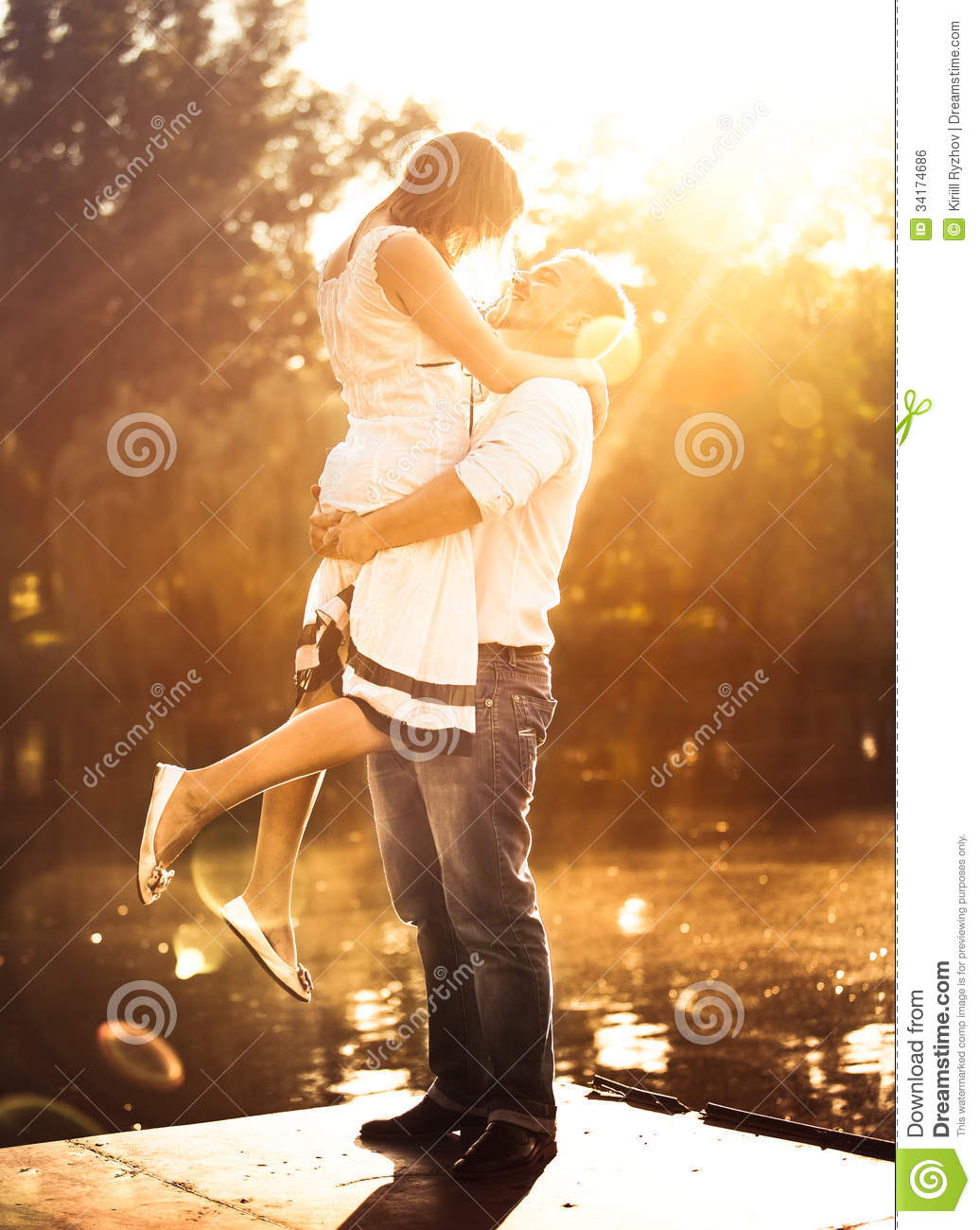 Man Holding On Hands His Girlfriend Stock Photo Image Of