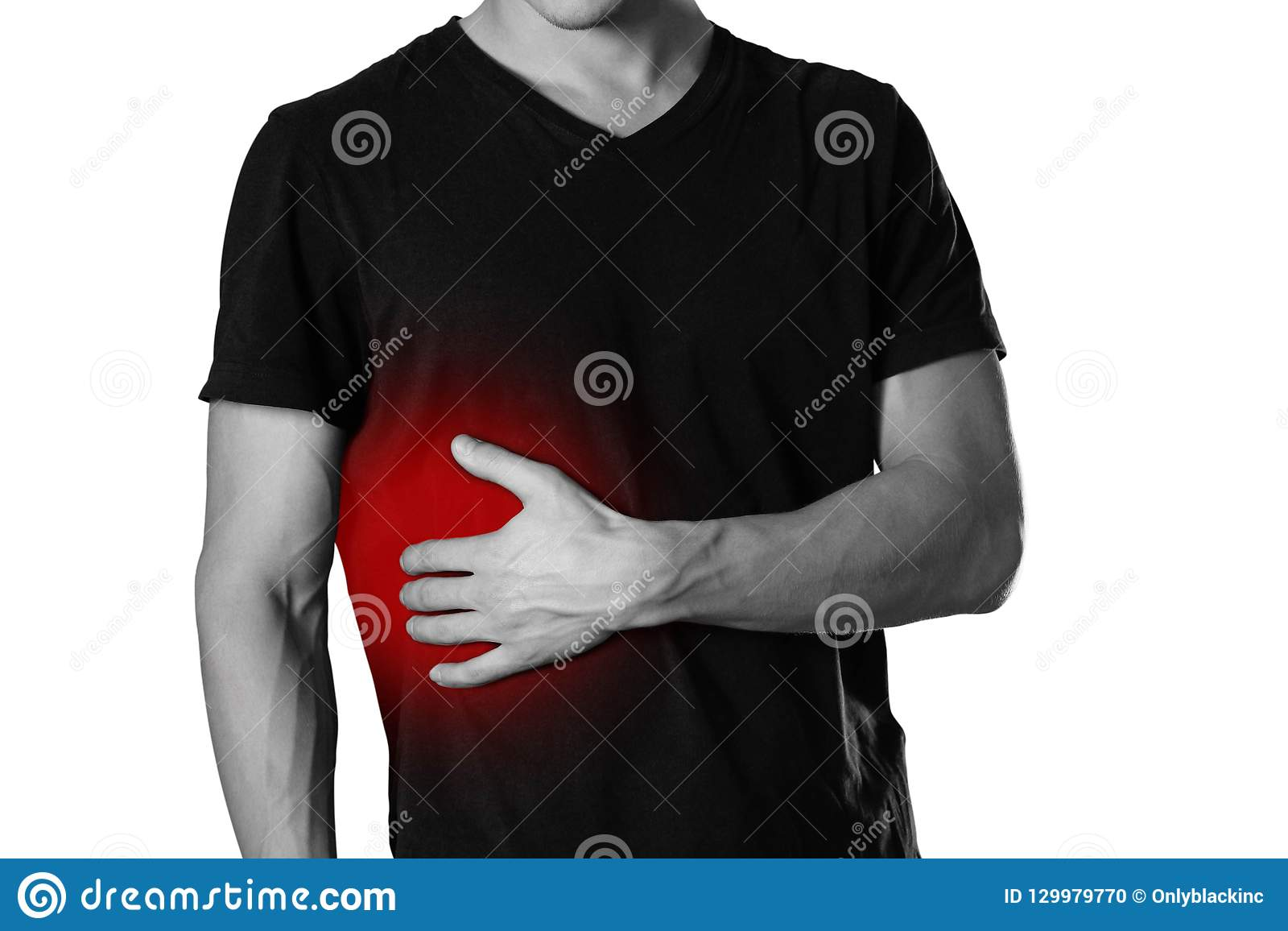 The man is holding his side. Pain in the liver. Cirrhosis. The h