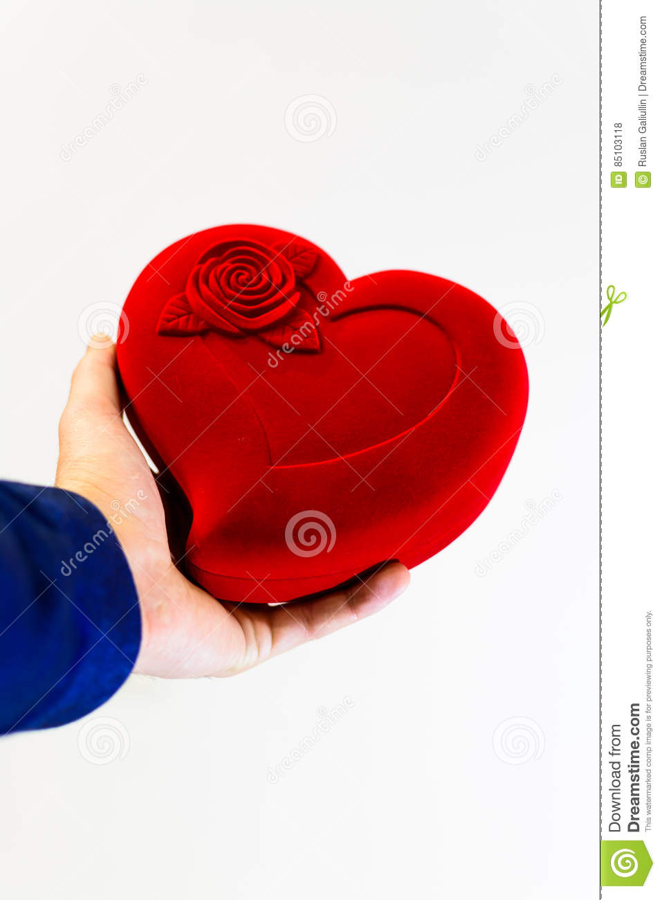 Man Holding A Large Red Symbol Heart In Hands Stock Photo Image Of