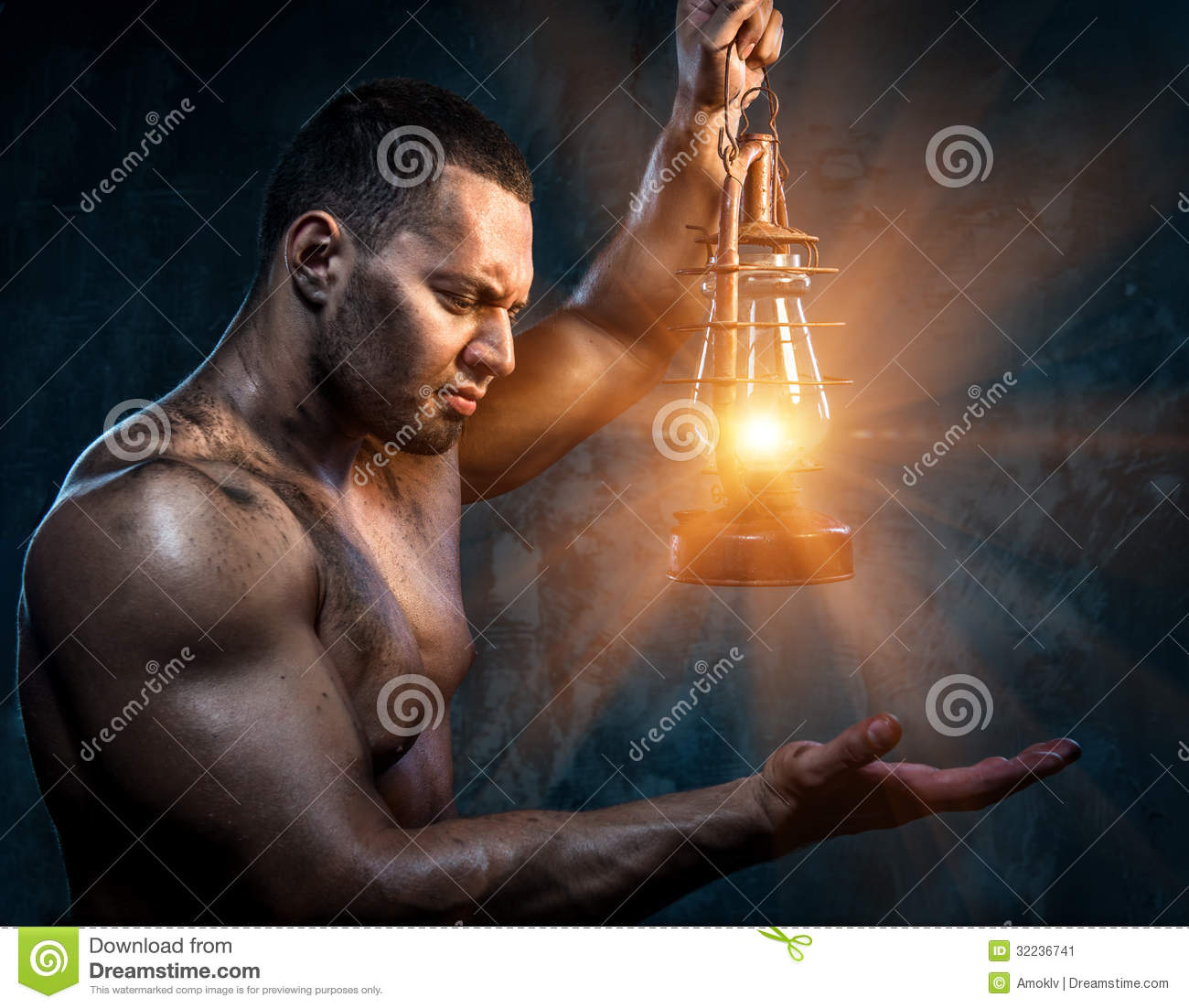 Man Holding Oil Lamp Stock Image Image Of Holding Biceps