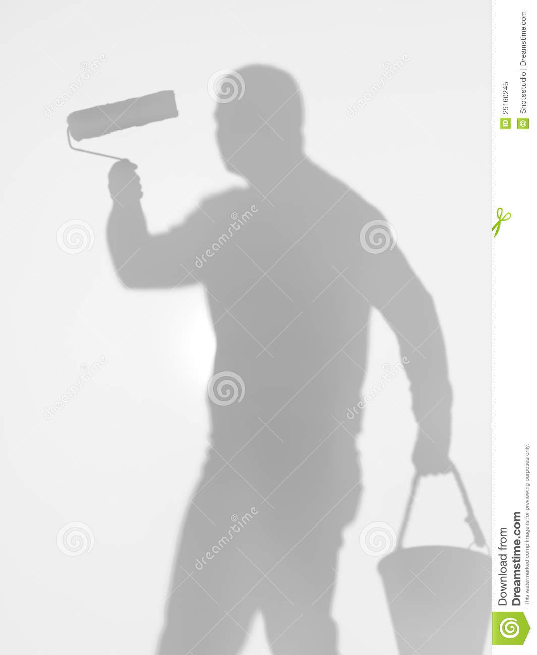 Painter And Decorator Prices >> Man Holding A Paint Roller And A Bucket, Silhouette Royalty Free Stock Photo - Image: 29160245