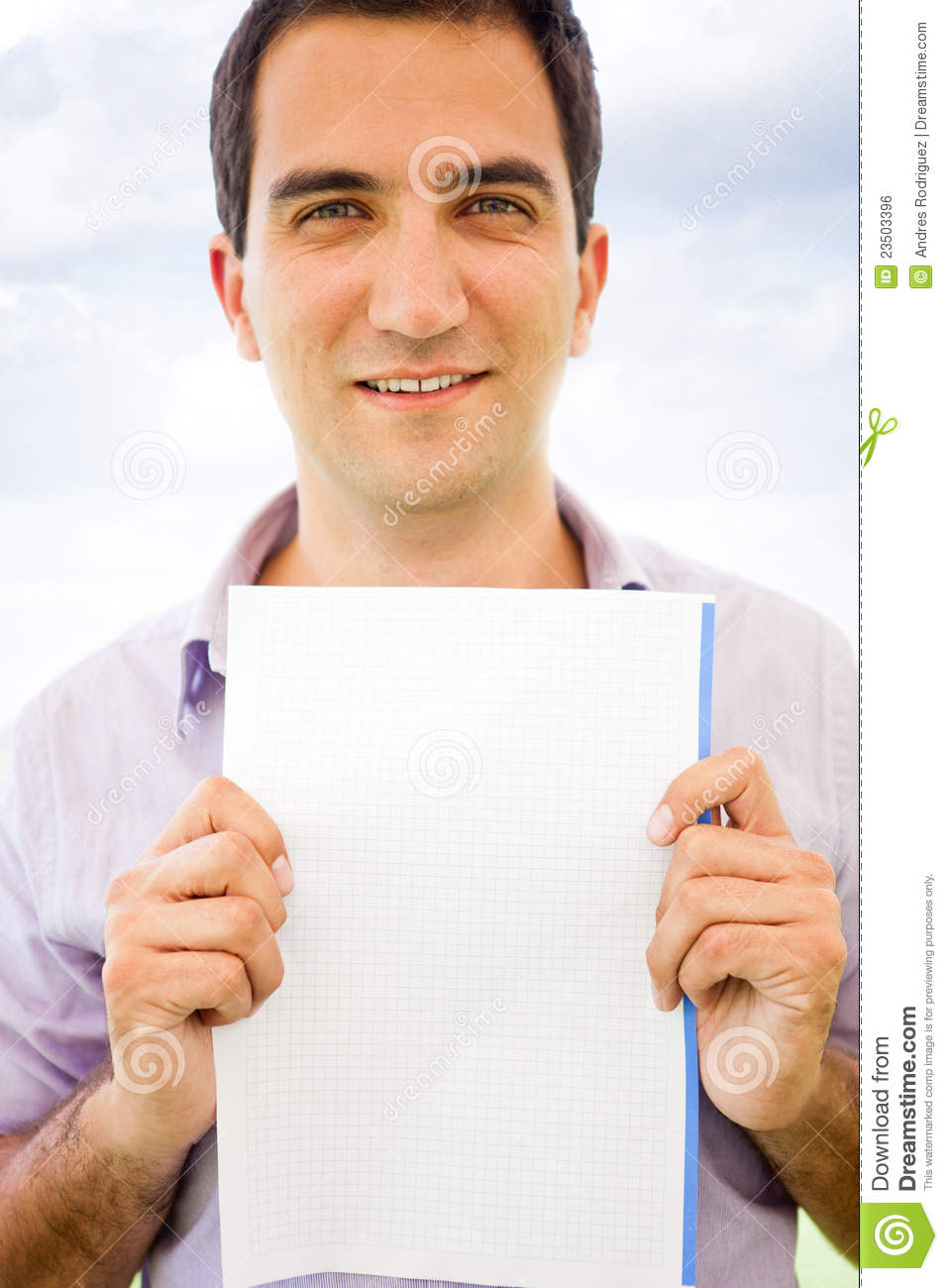 Man holding a paper stock photo. Image of cheerful ...