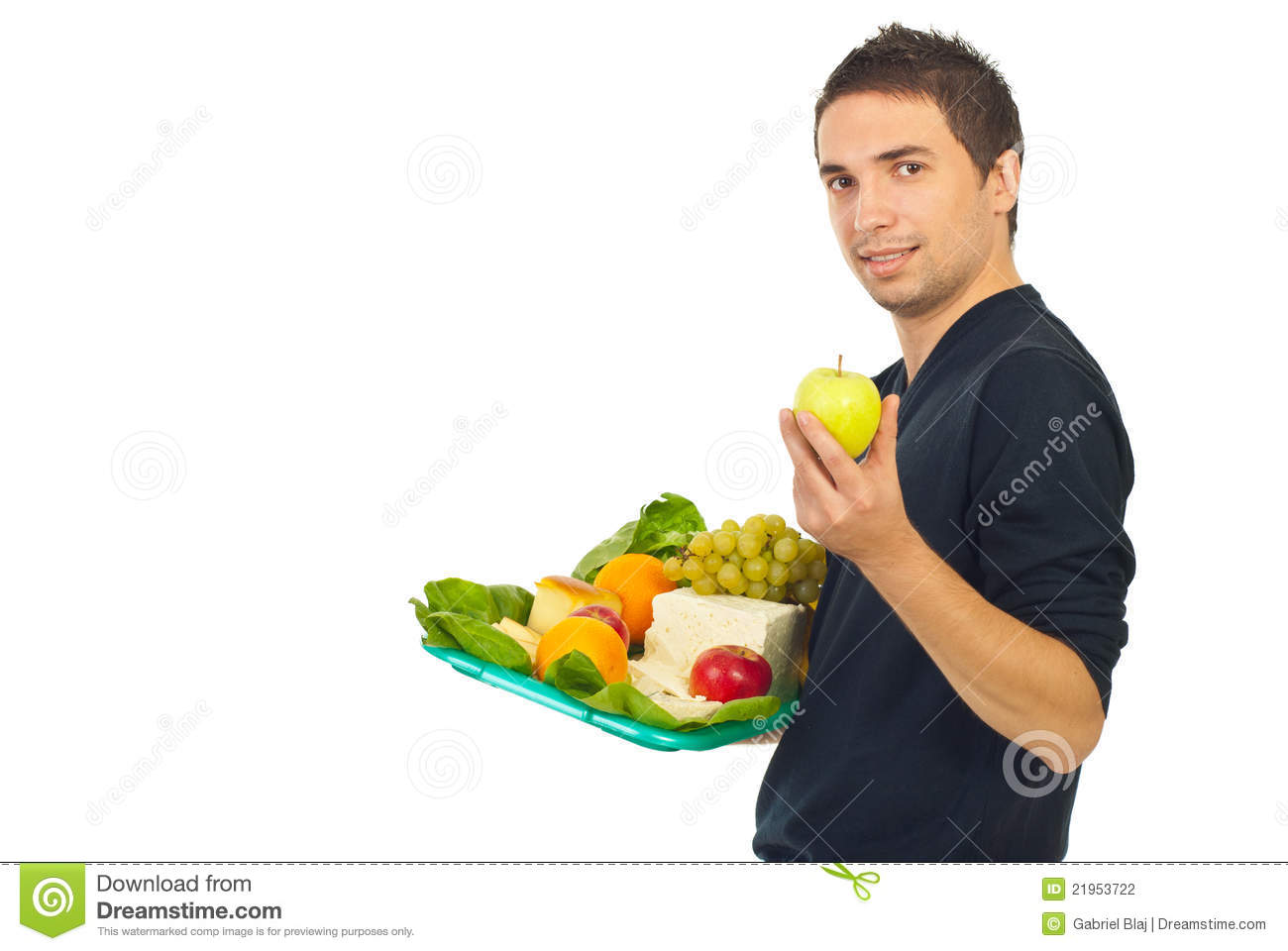 Man holding plateau with healthy food