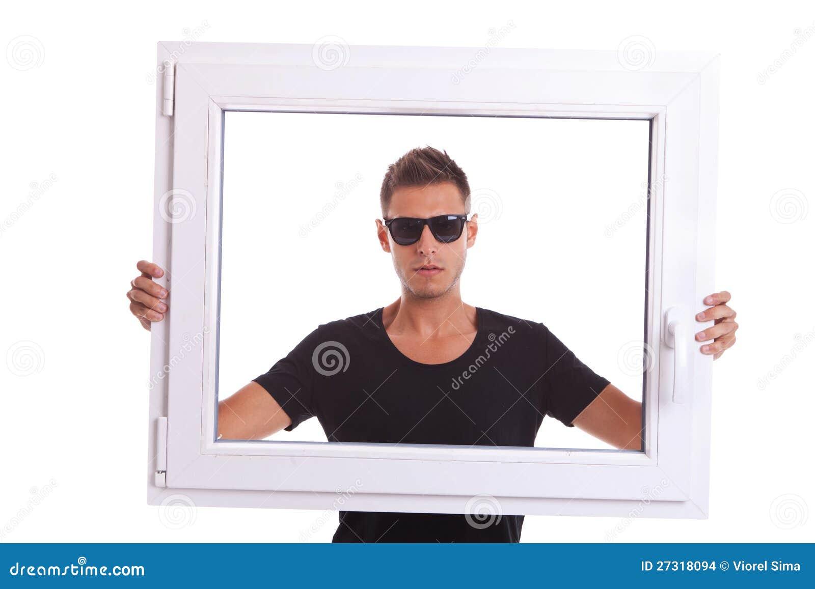 Man Holding A Pvc Window Frame Stock Photo - Image of glazing, house ...