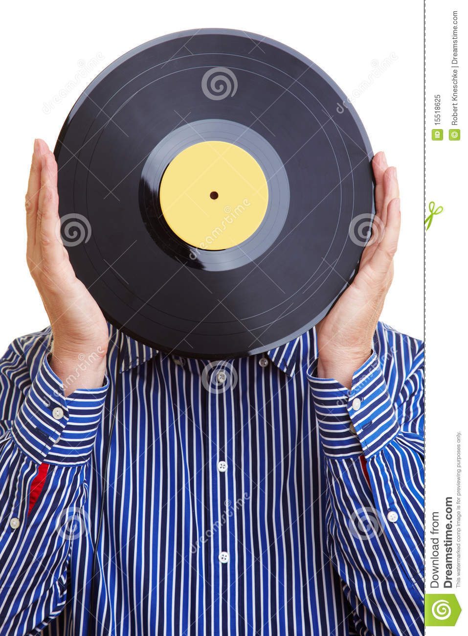 Man Holding Record In Front Of His Royalty Free Stock