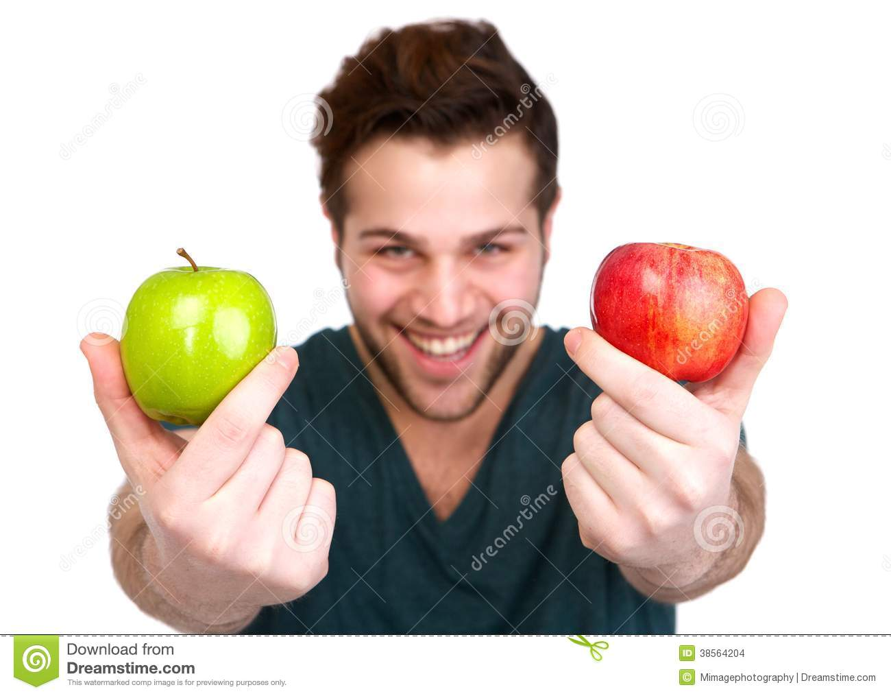 Man holding red and green apple