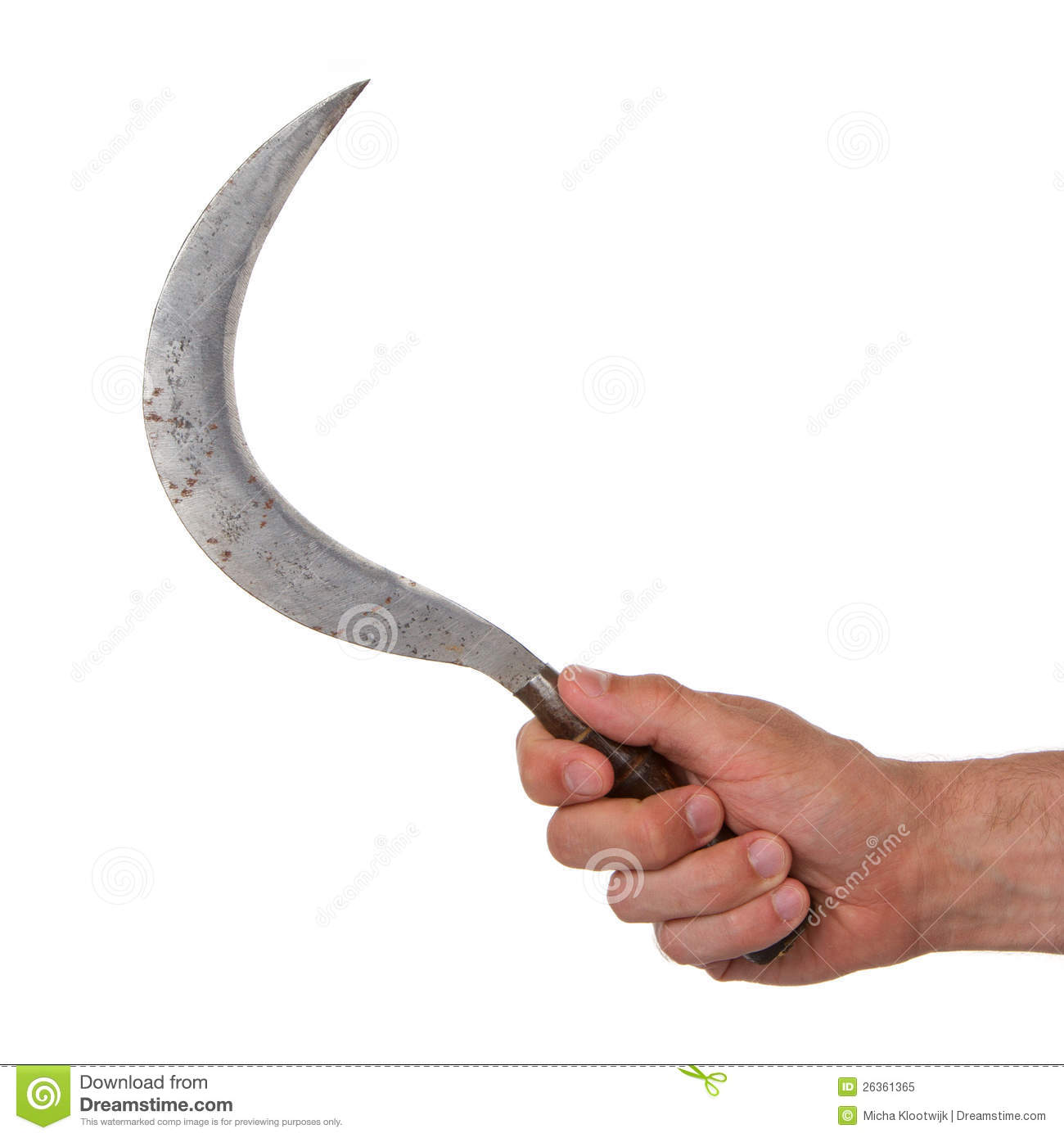 Man holding a rusted sickle