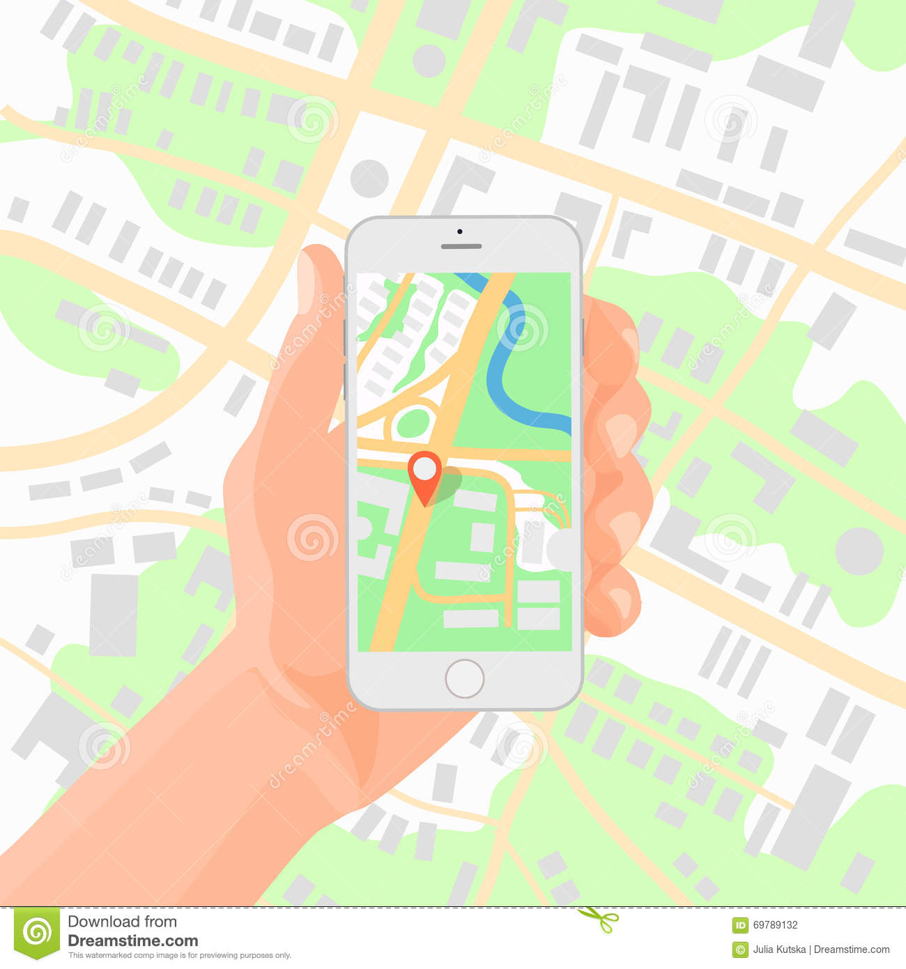 Man Holding Smartphone In Hand With Mobile Gps Navigation Map Vector on