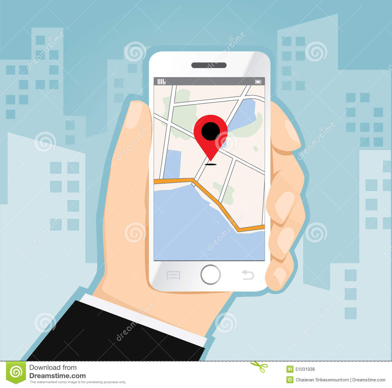 Man Holding Smartphone With Mobile Gps Navigation With Check In