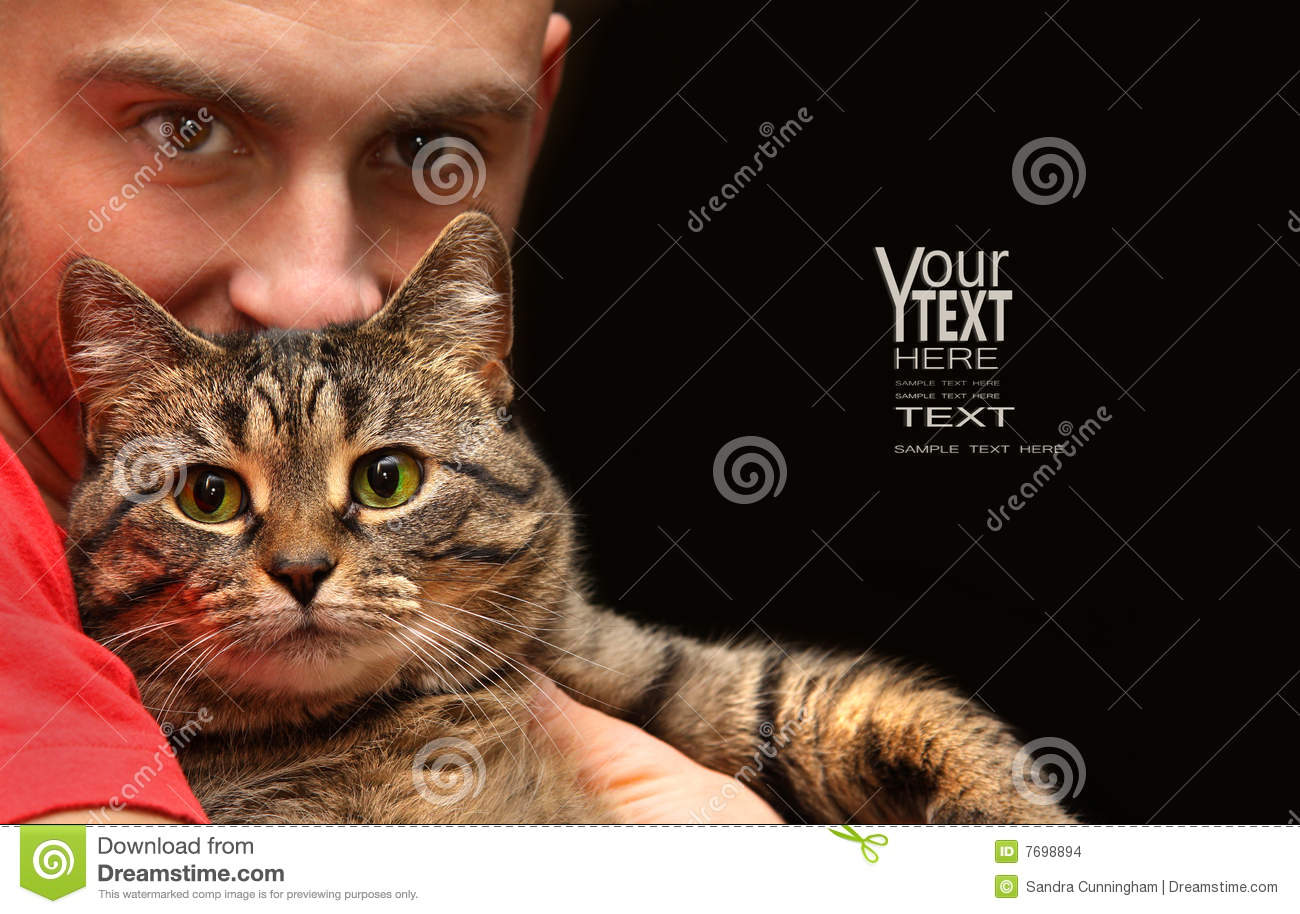 Man Holding Tabby Cat Stock Photo Image Of Green Style