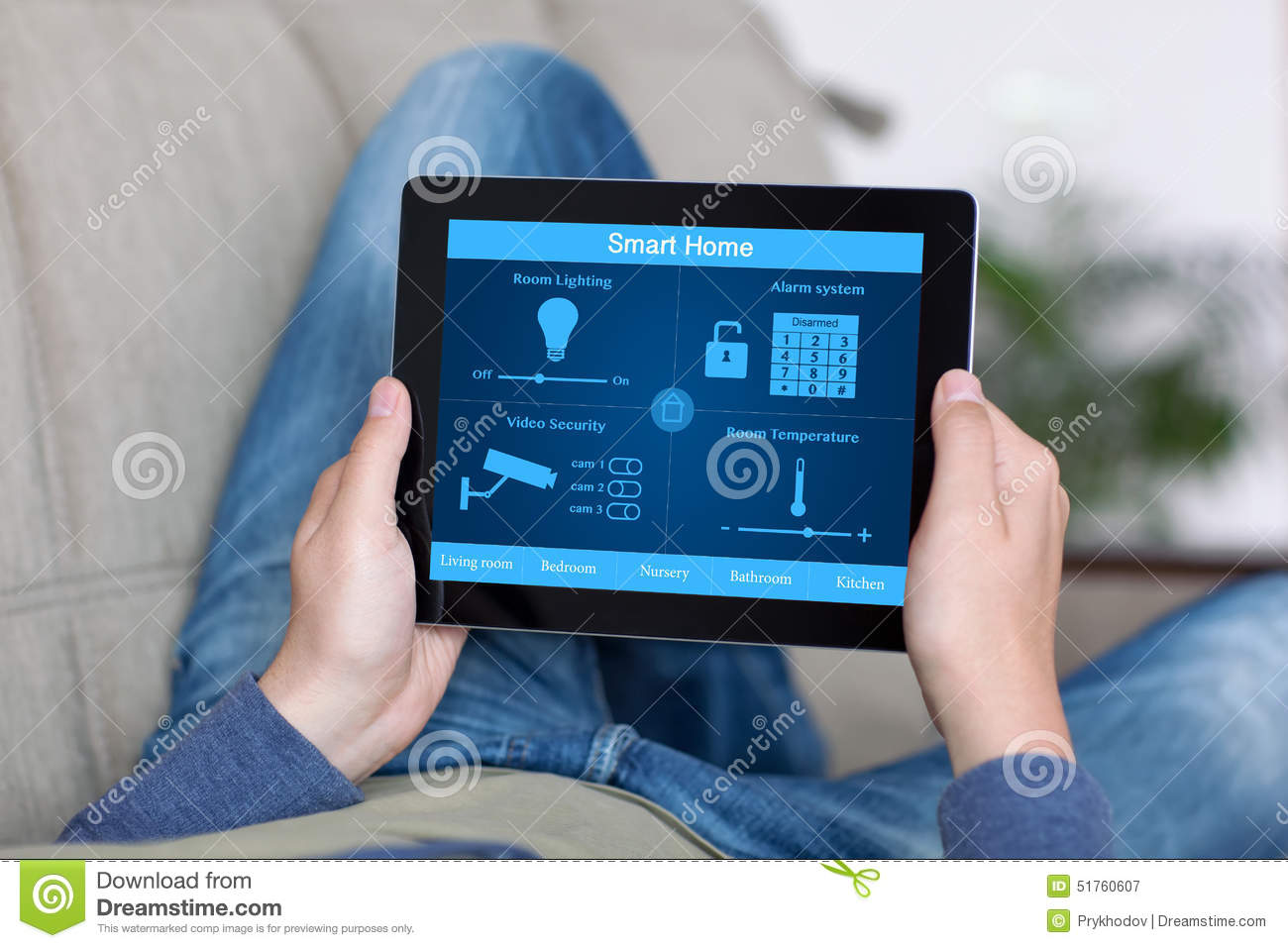 man holding tablet with program smart home on the screen stock photo image 51760607. Black Bedroom Furniture Sets. Home Design Ideas