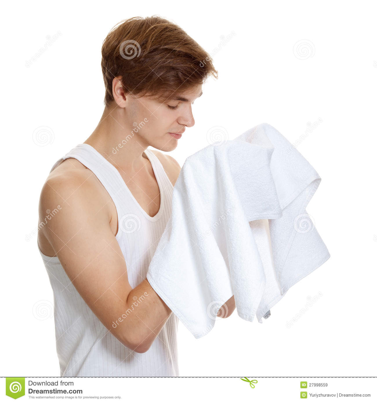 Man Holding A Towel Isolated Stock Image