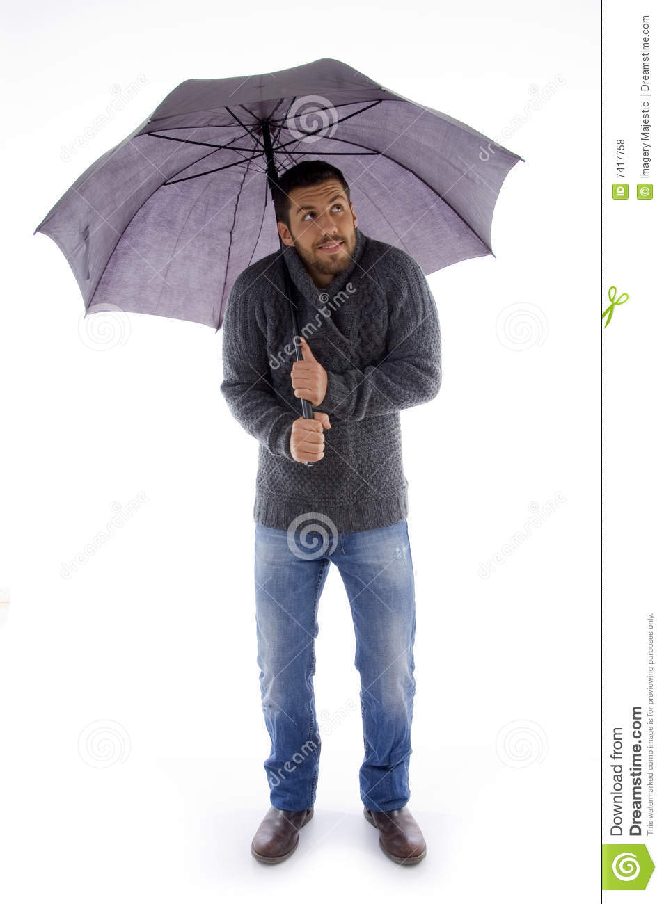 Man Holding An Umbrella And Looking Up Stock Photo Image Of Twenties Studio 7417758