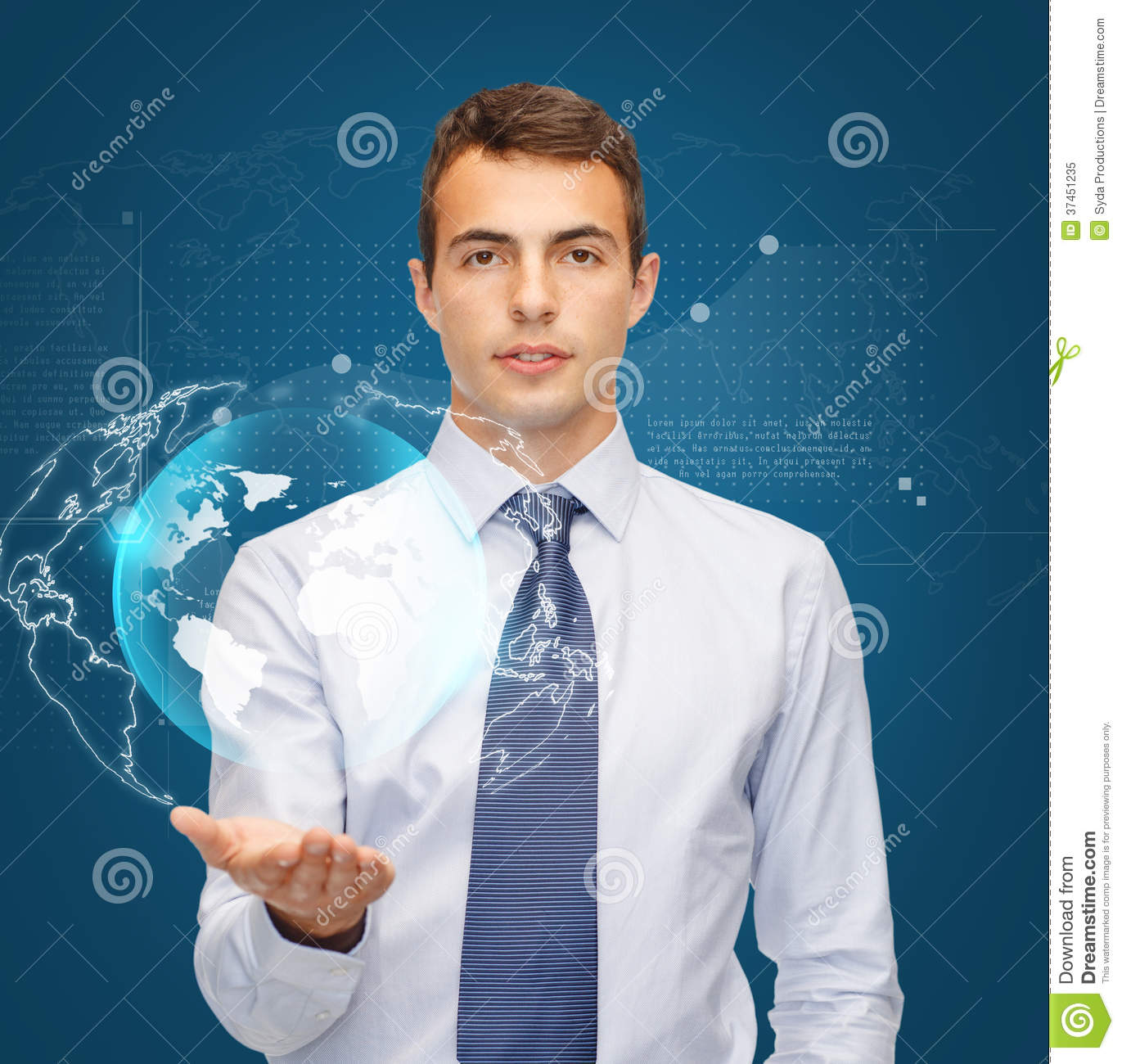 Technology Management Image: Man Holding Virtual Sphere Globe On The Palm Royalty Free