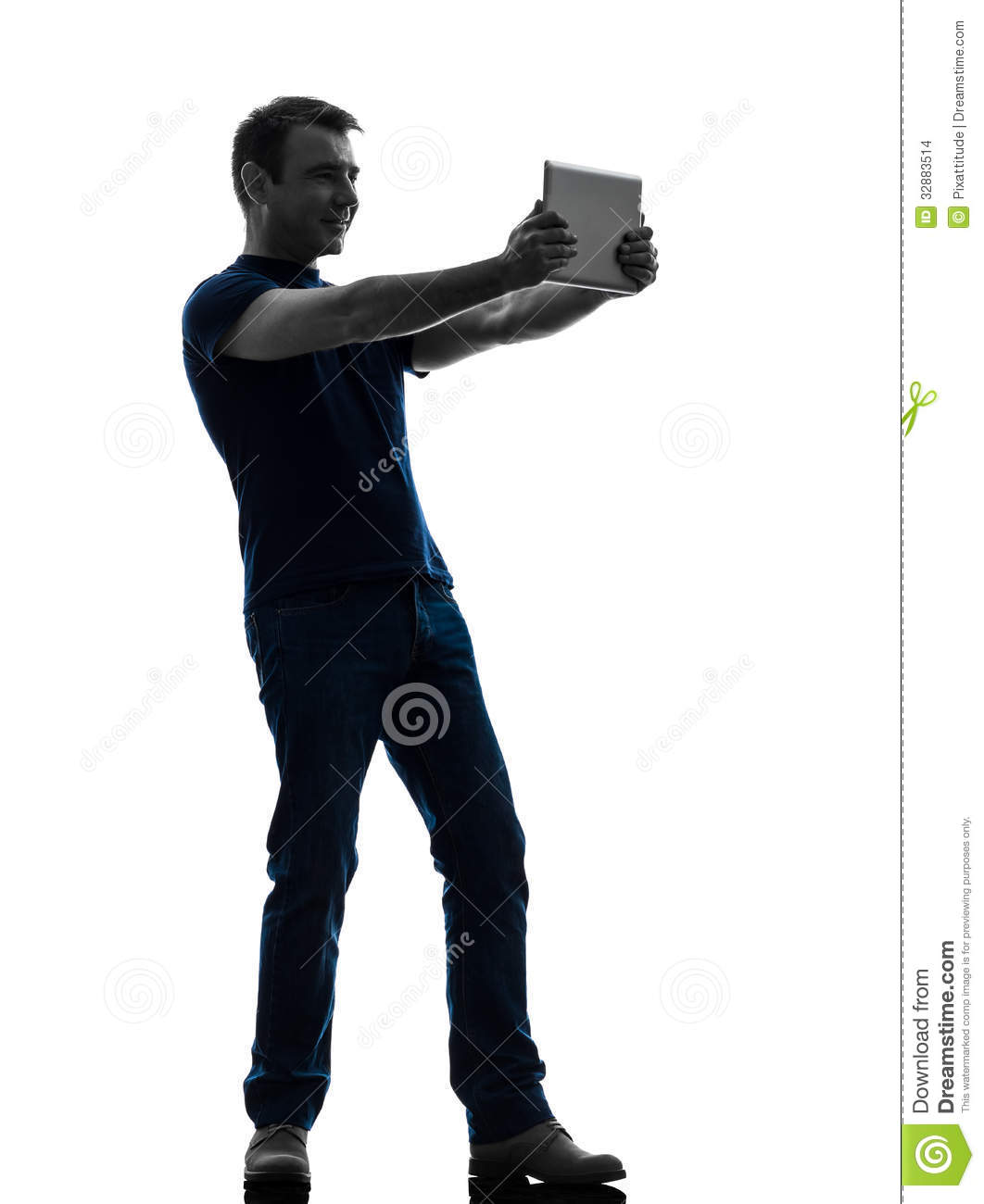 Man Holding Watching Digital Tablet Silhouette Stock ...
