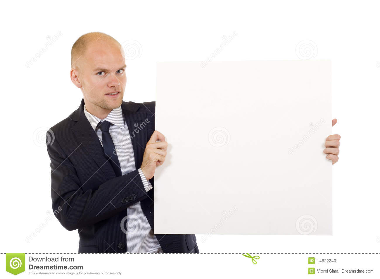 Man holding a white board