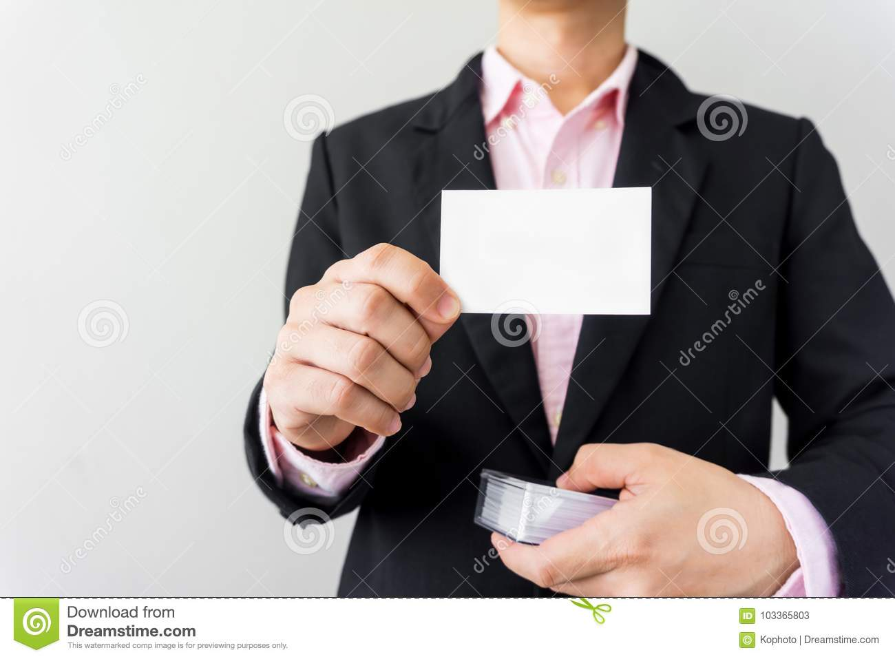Man holding business card stock image. Image of blue - 103365803