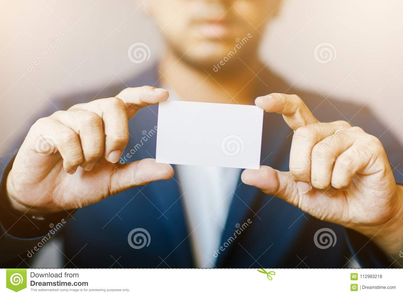 Man Holding White Business Card,Man Wearing Blue Shirt And Showing ...