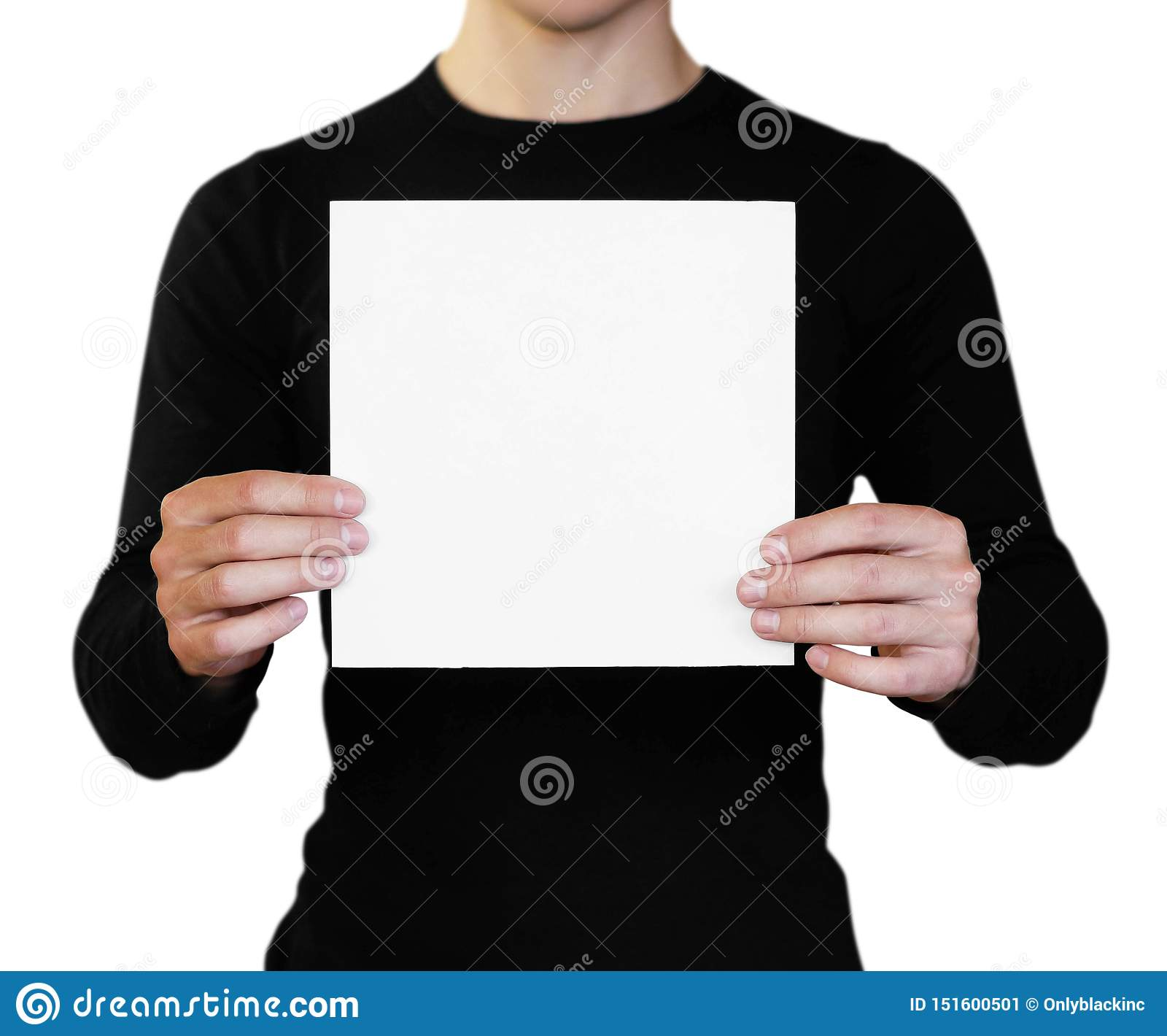 A man holding a white sheet of paper. Holding a booklet. Close up. Isolated on white background