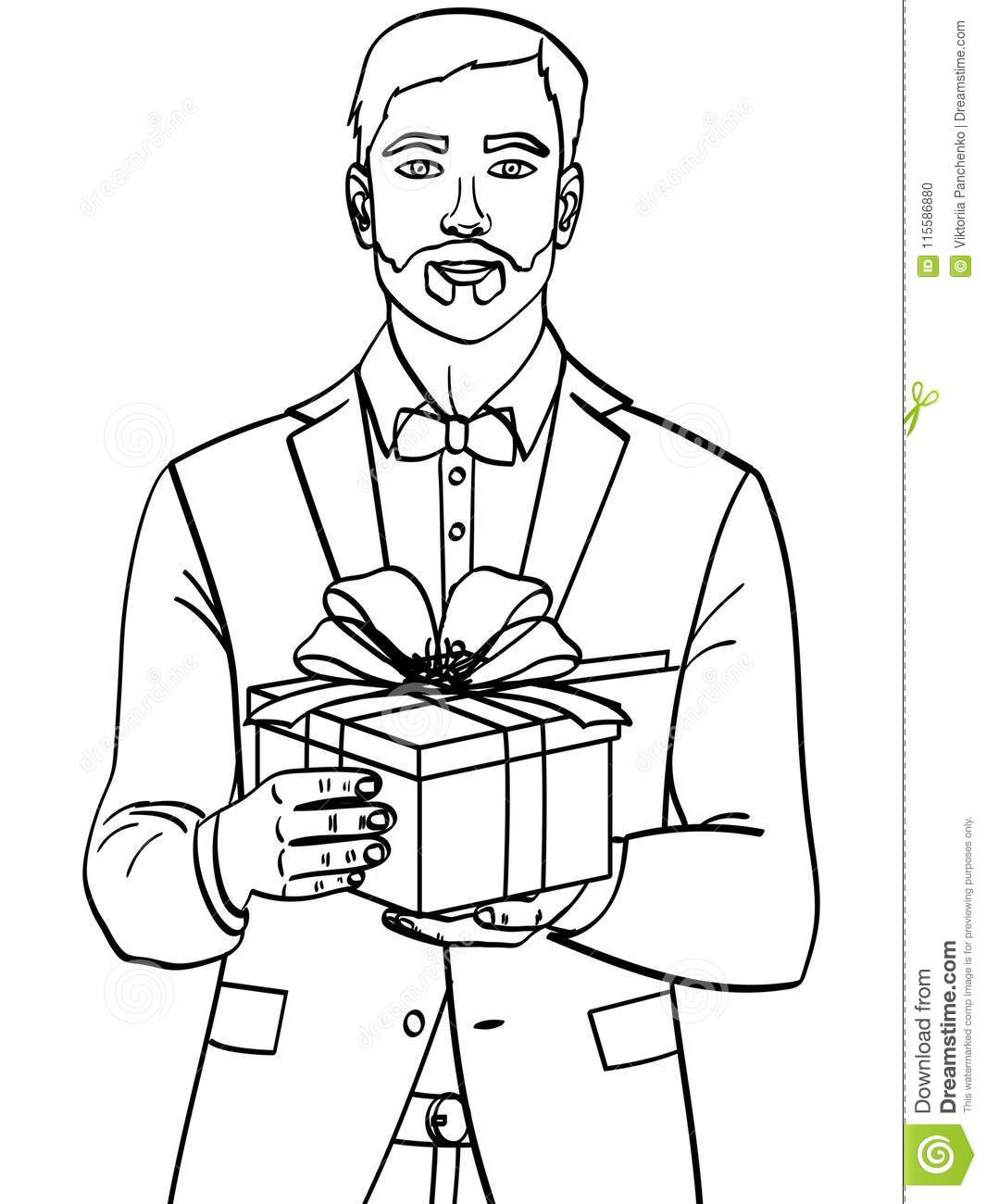 Man Holds Big Gift Box A Guy With Christmas Or Birthday Object On