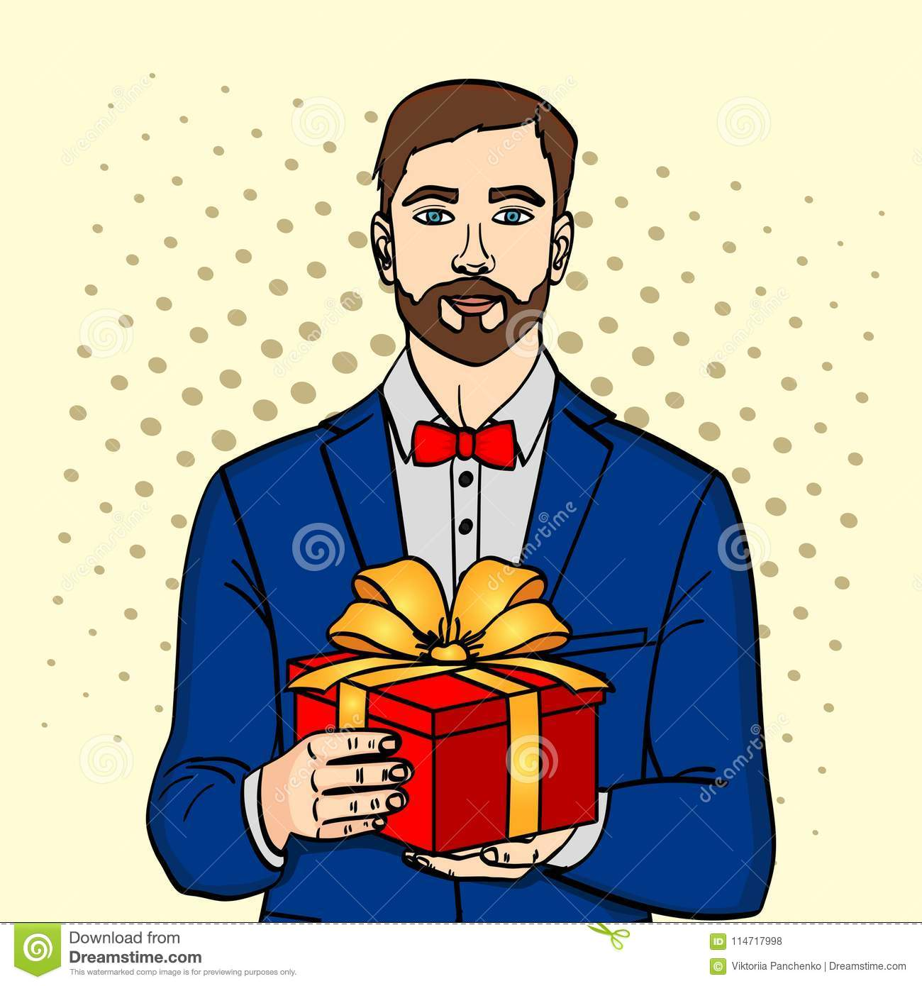 Man Holds Big Gift Box Vector In Retro Comic Pop Art Style A Guy With Christmas Or Birthday