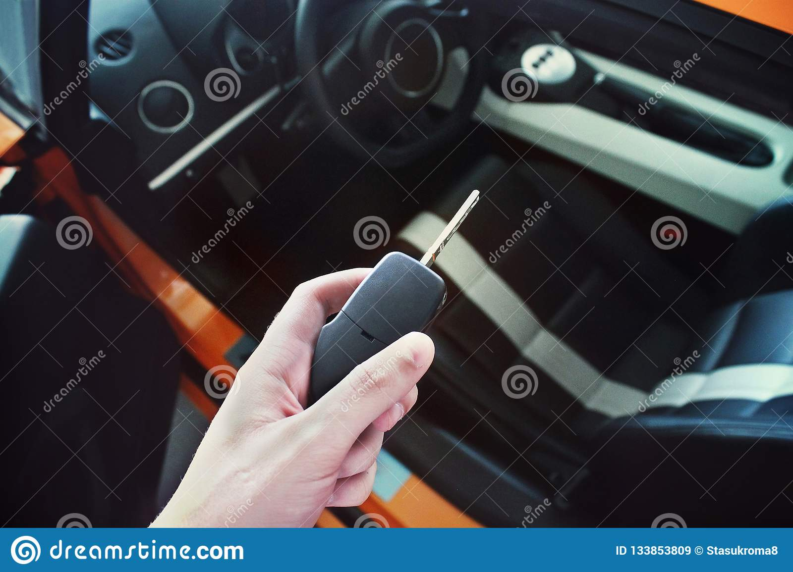 Man Holds The Key Of A Luxury Car Stock Image Image Of Classic Black 133853809