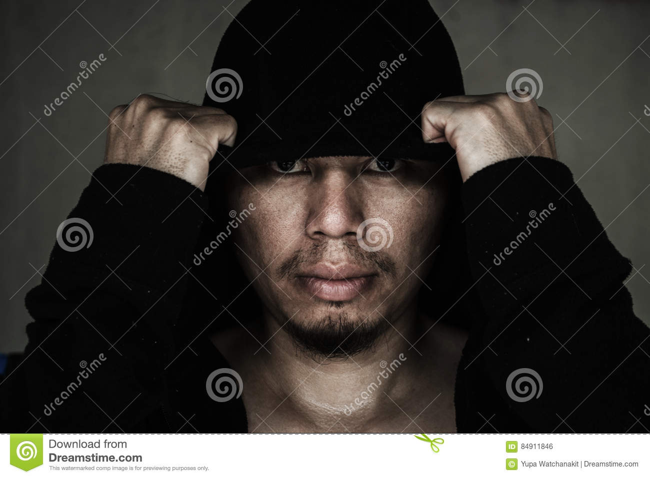 Man In Hood With Scary Face Stock Photo Image Of Halloween Black