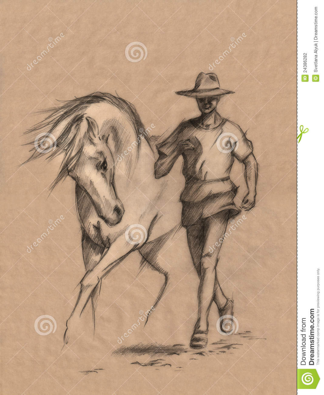 Man And Horse Stock Illustration Illustration Of Pencil 24386282