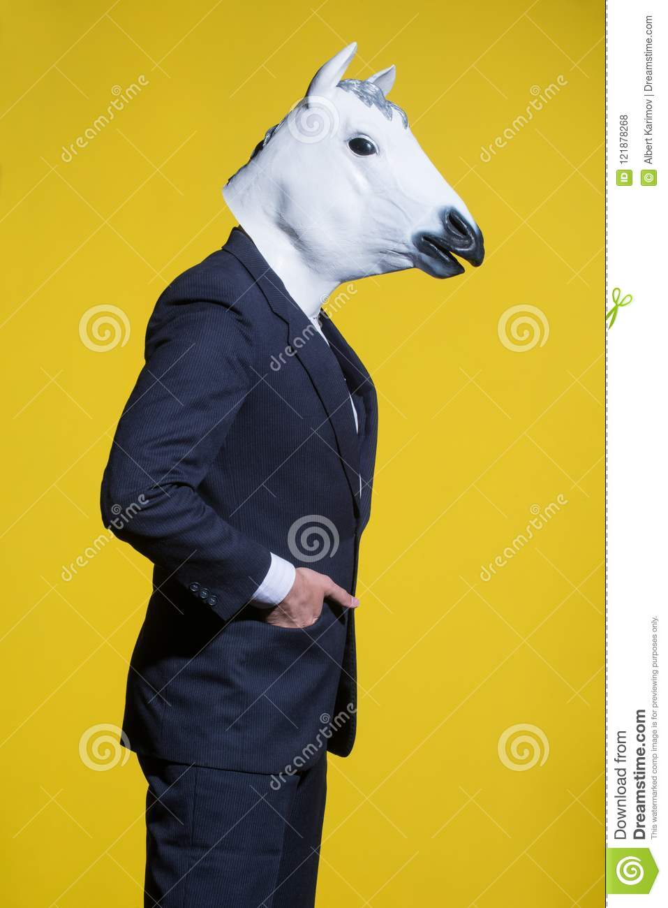 download man with horse mask on yellow background stock photo image of halloween dressed