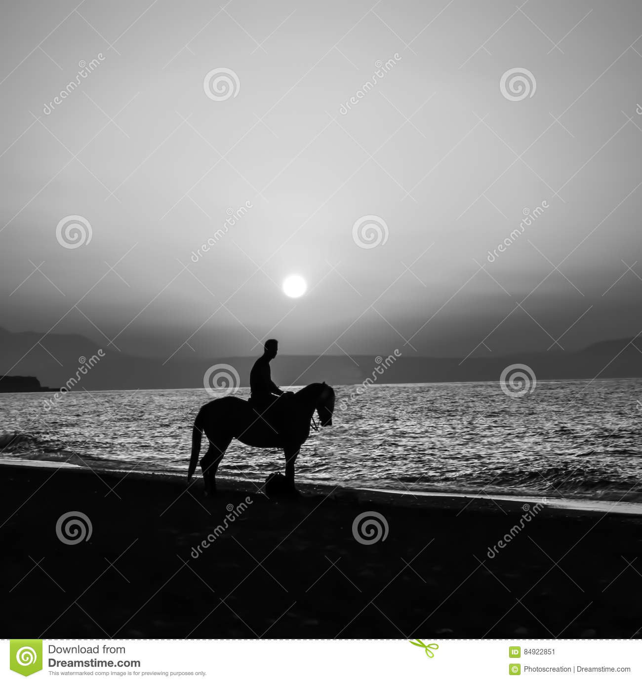 man on the horse with sunset background