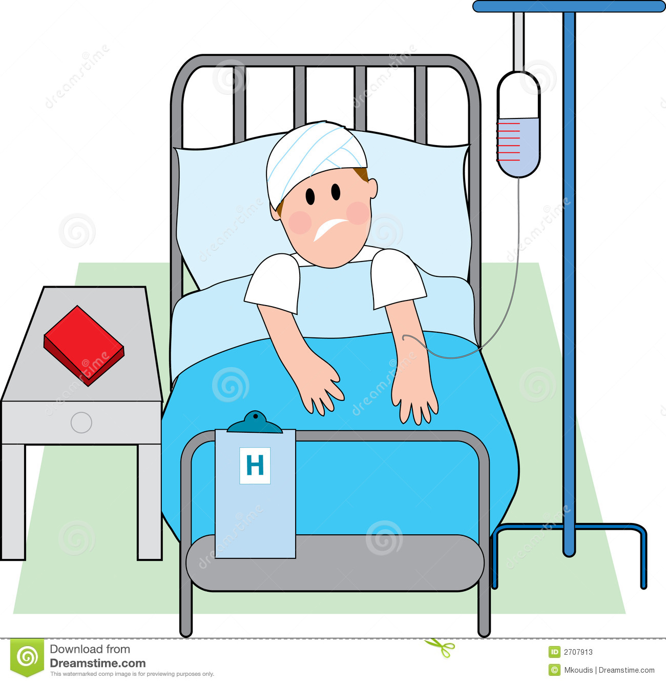 Hospital Bed Clip Art Man in hospital bed