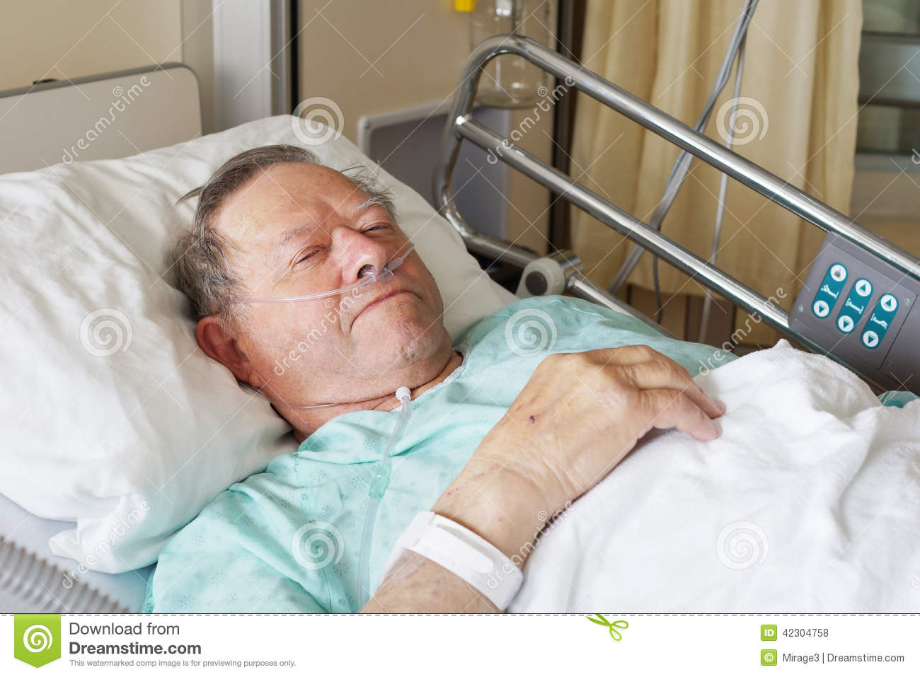 Images Of Sick Old Me In Hospital Bed : Portrait of sick old man in hospital bed.