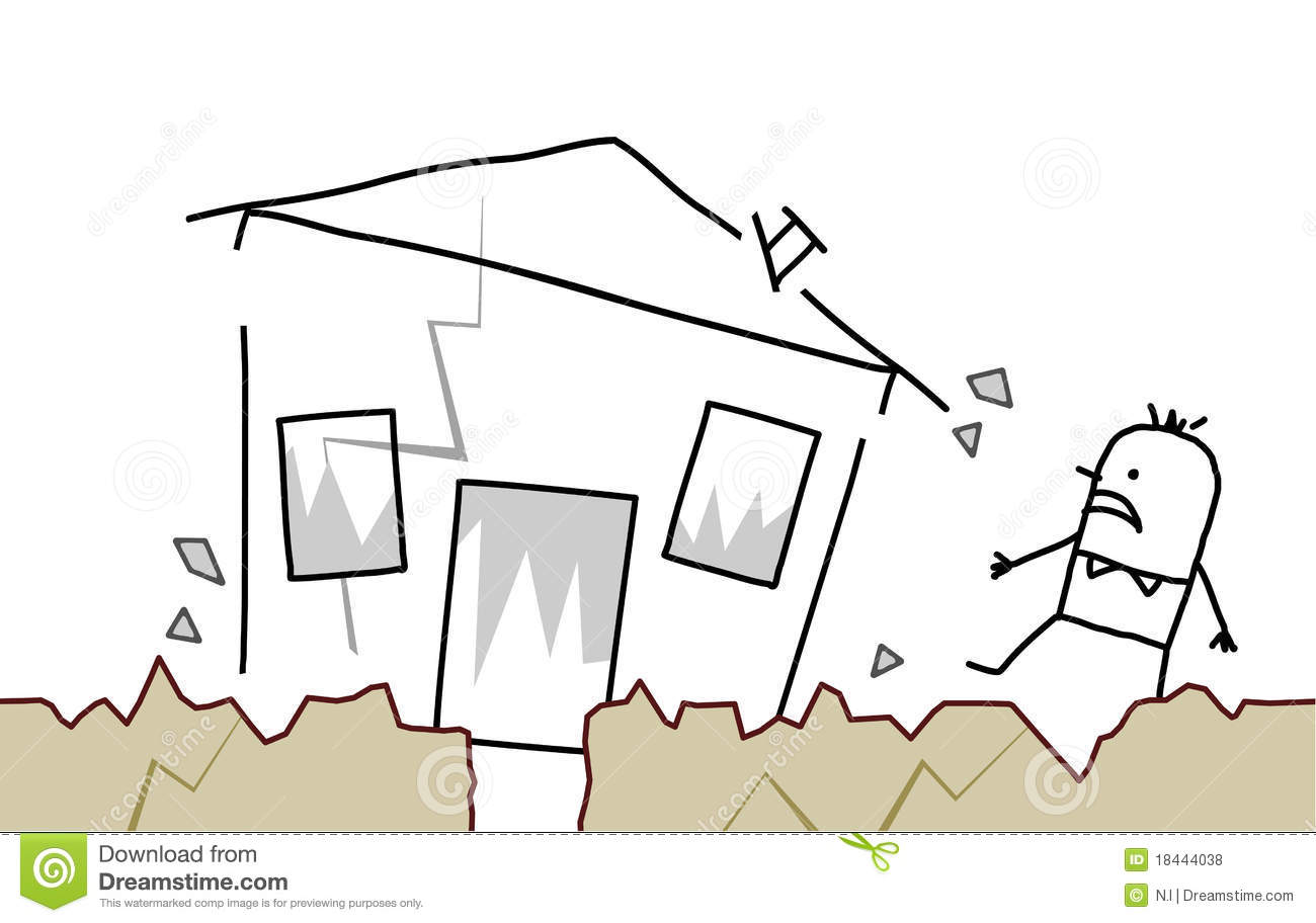 Free Home Design Program Man With House Amp Earthquake Royalty Free Stock Photos