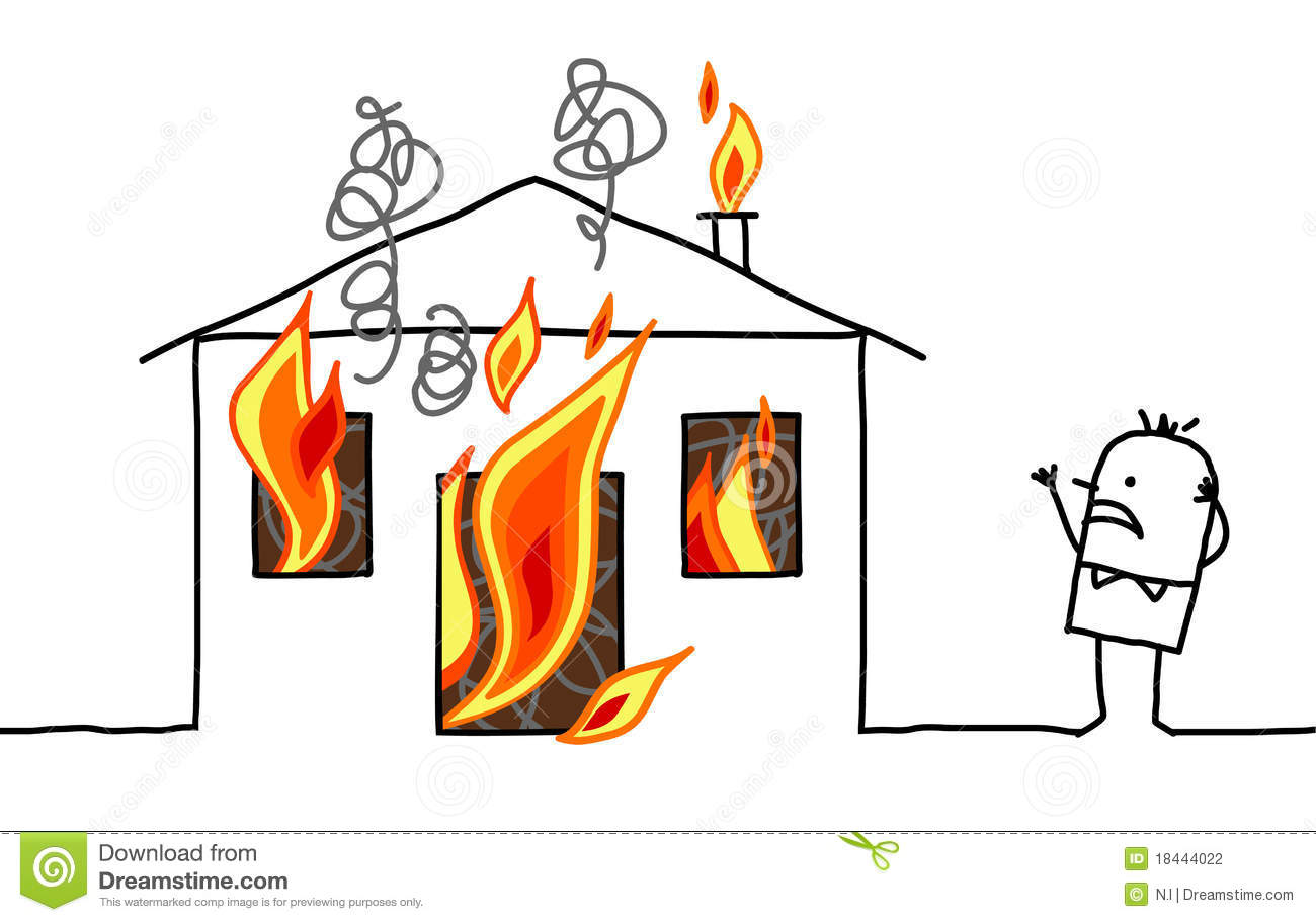 Man with house & fire