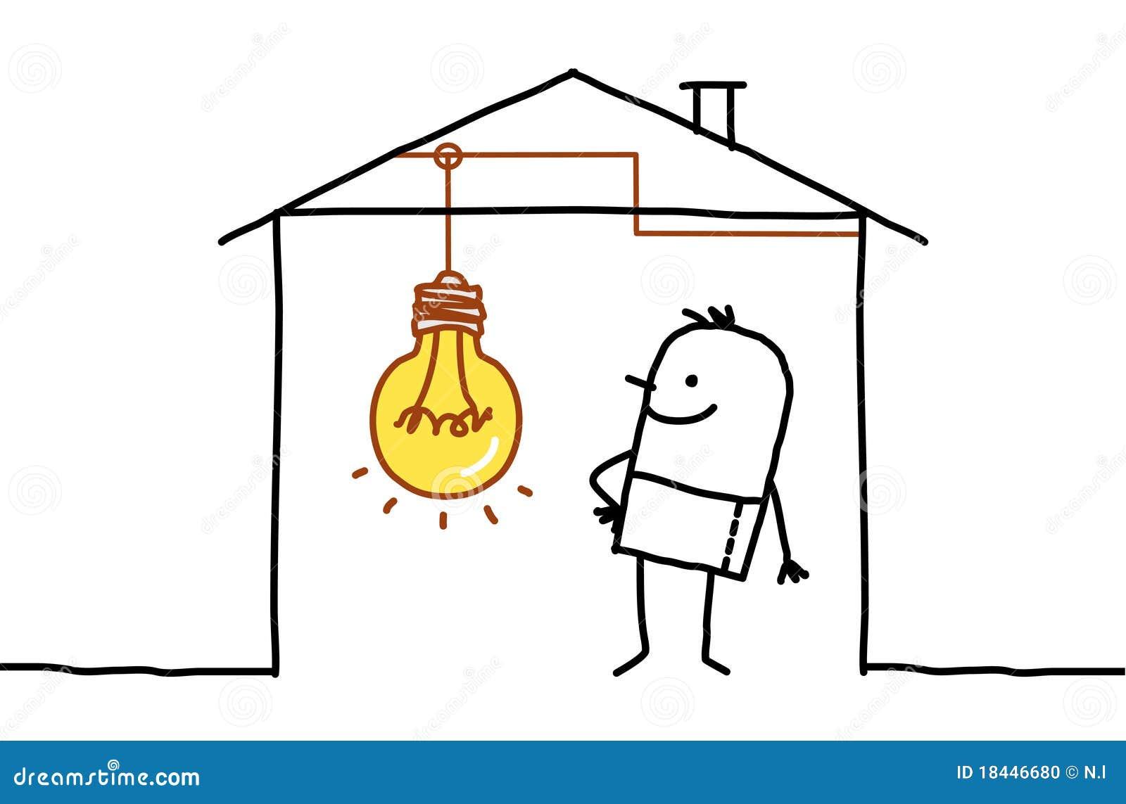 Man In House amp Light Bulb Stock Photo Image 18446680