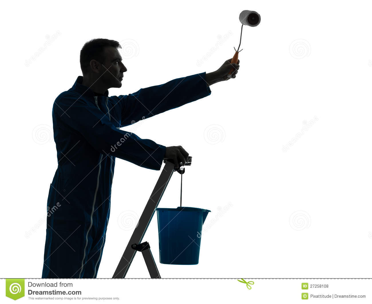 man house painter worker silhouette royalty free stock. Black Bedroom Furniture Sets. Home Design Ideas