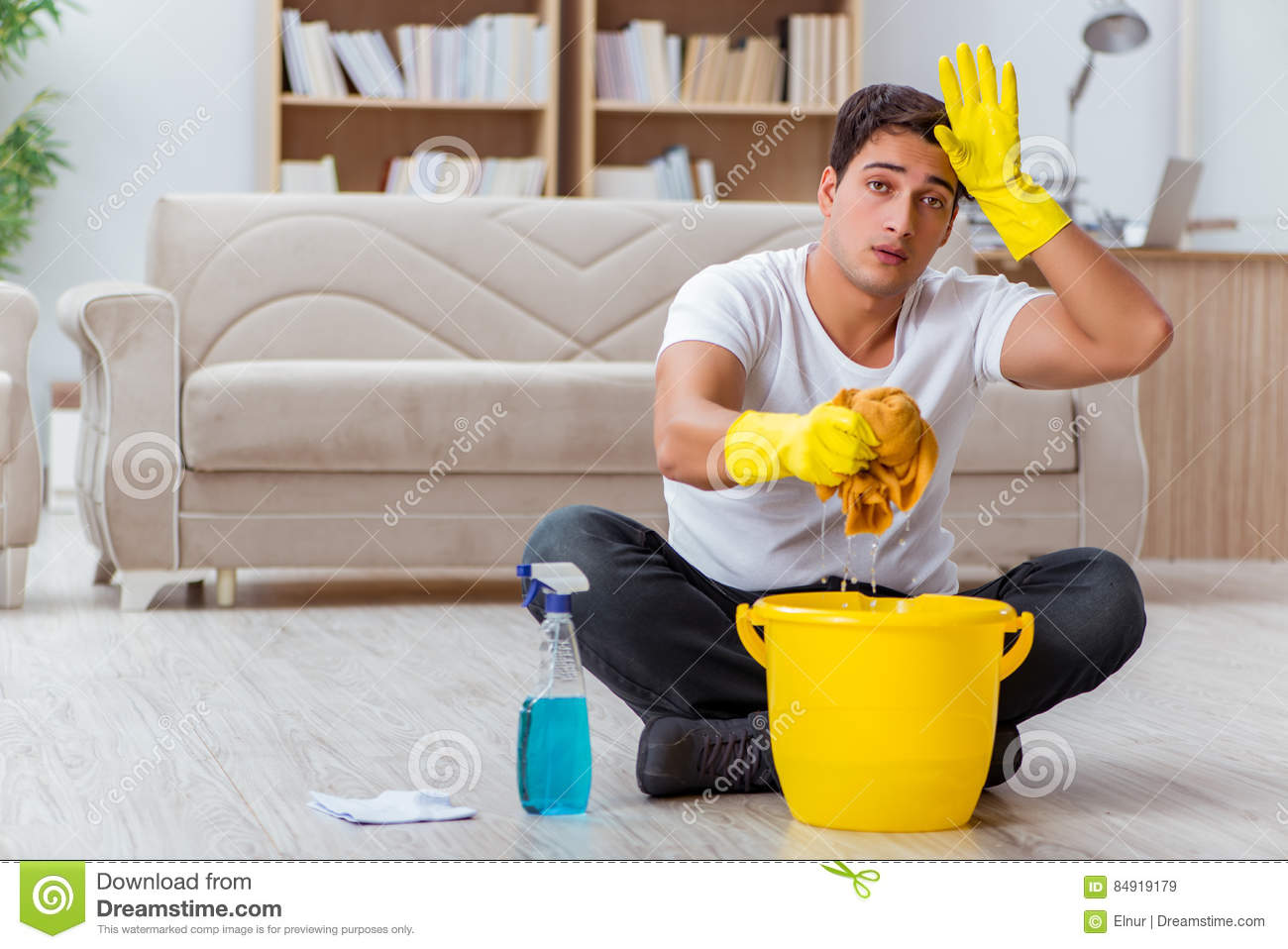 wife cleaning house