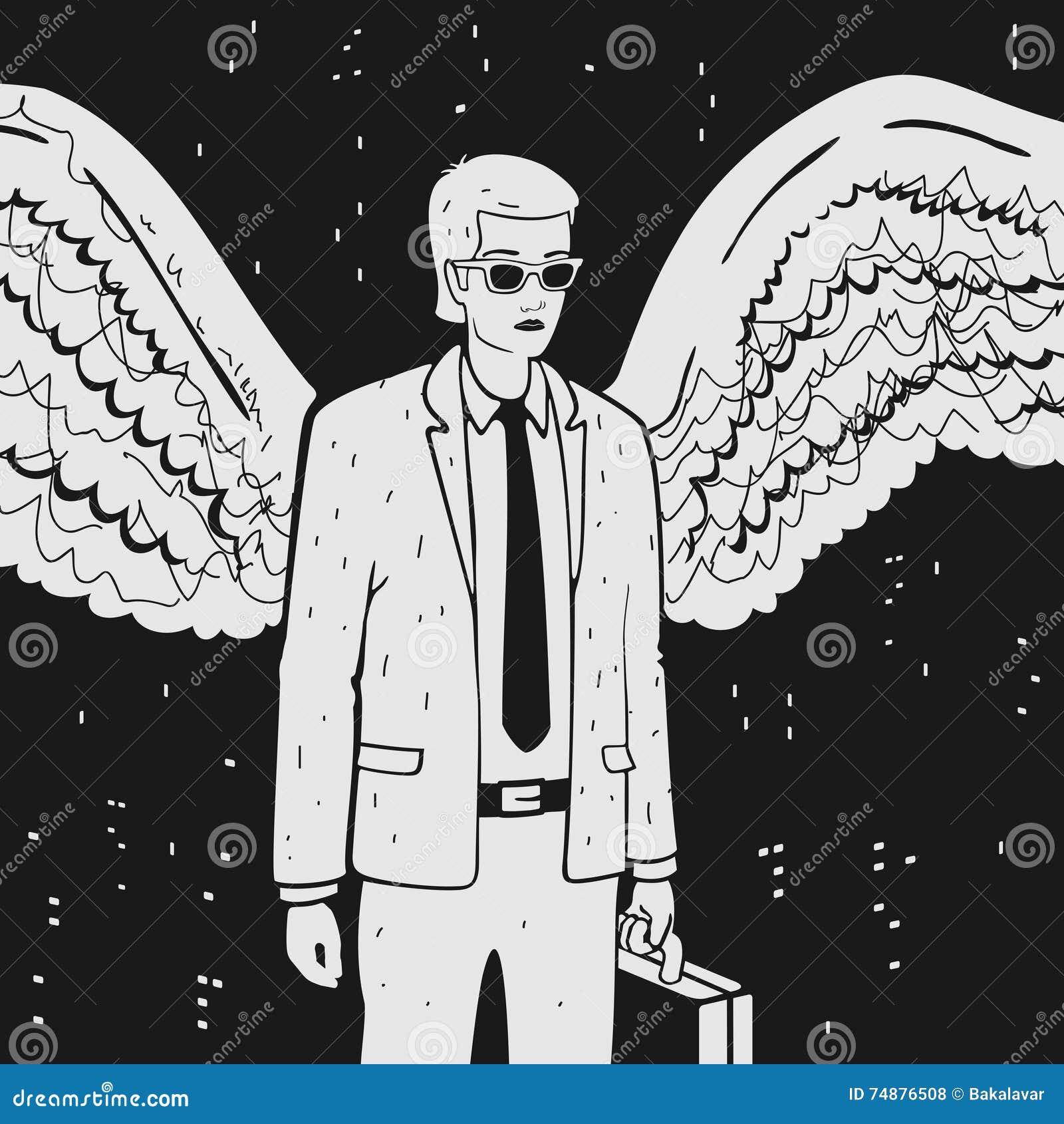 Man i en dräkt med vingar