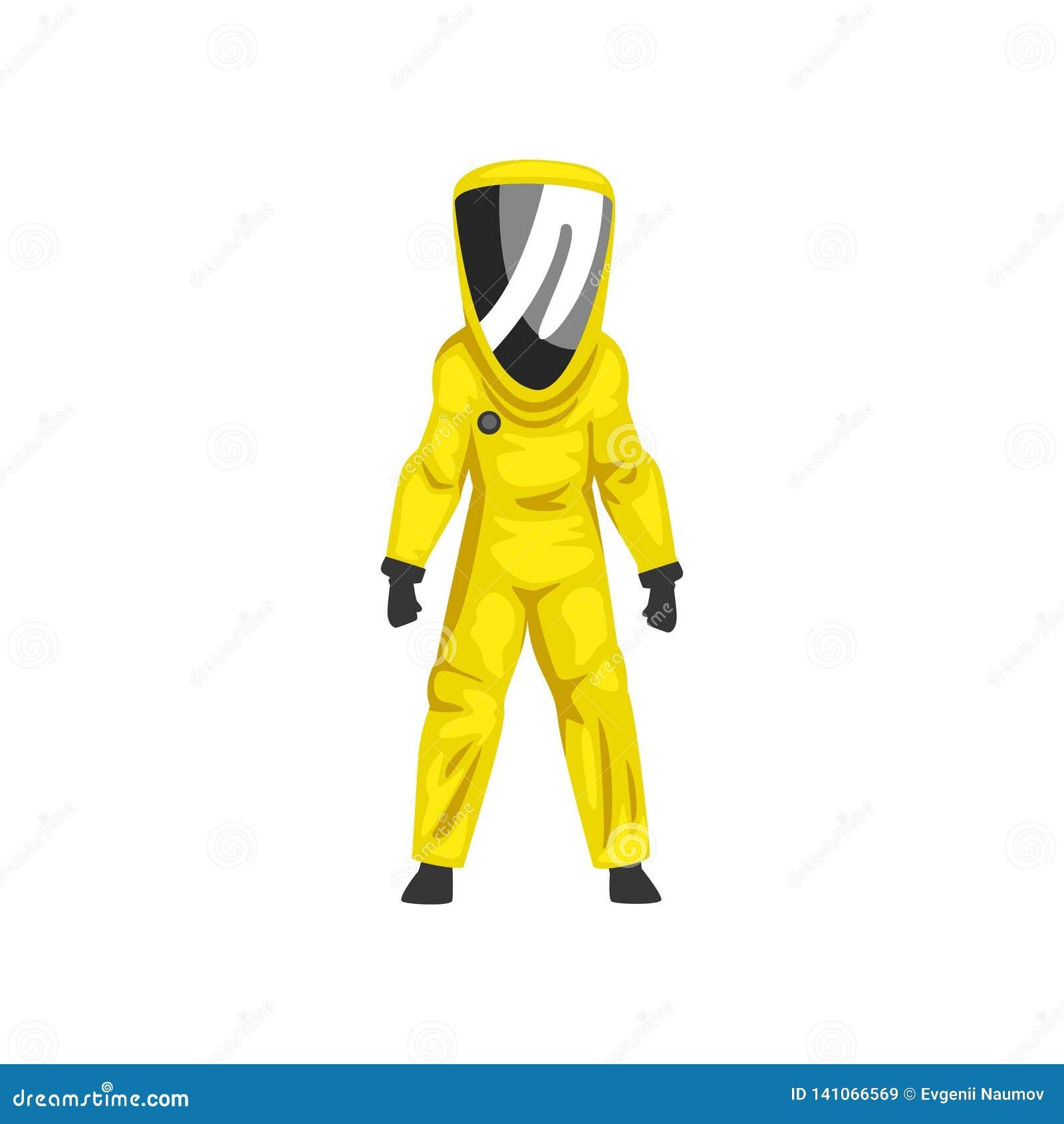 Man i skyddande dräkt för gul utstrålning och vektor för yrkesmässig säkerhet för hjälm, för kemikalie eller för Biohazard enhetl