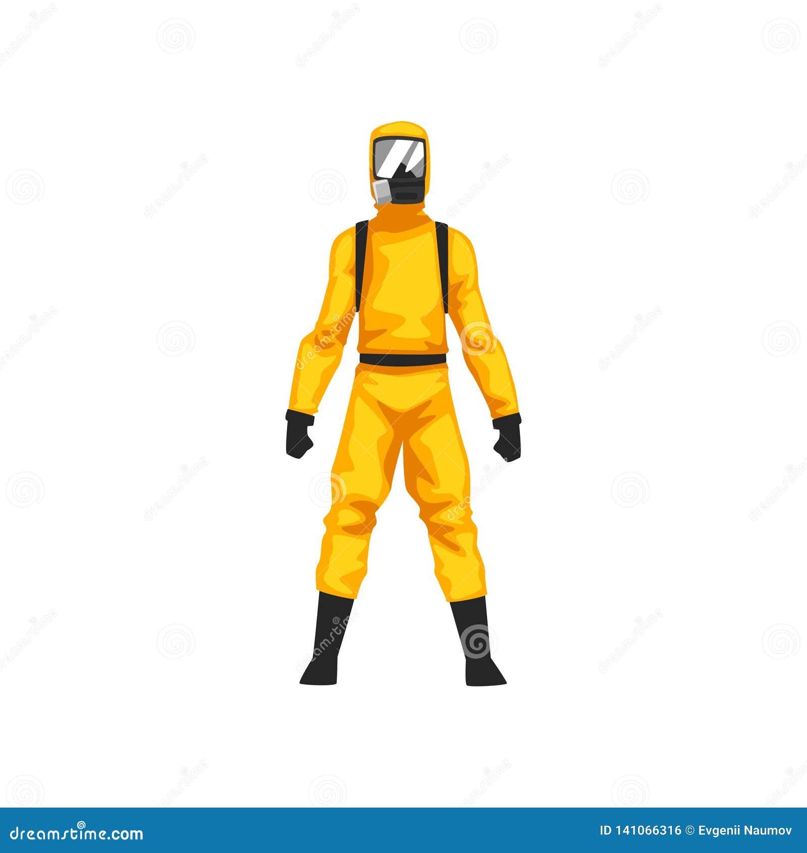 Man i skyddande dräkt och gasmask, illustration för vektor för yrkesmässig säkerhet för kemikalie eller för Biohazard enhetlig