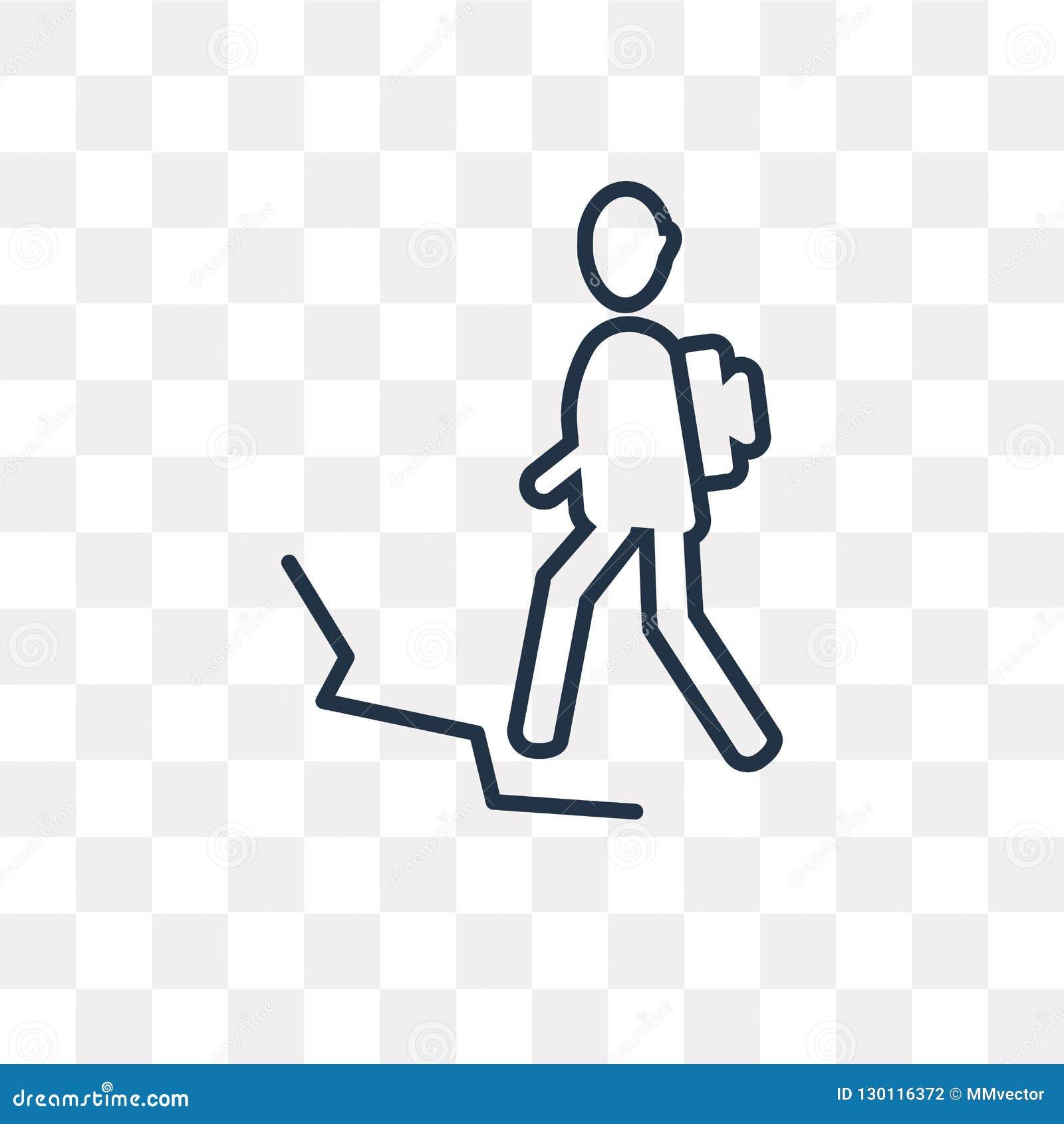 Man i vandringvektorsymbolen som isoleras på genomskinlig bakgrund, linje