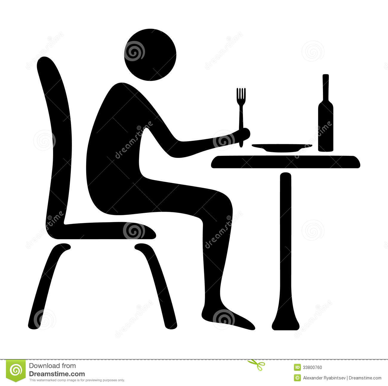 Man Icon Lunch Time Stock Photo - Image: 33800760