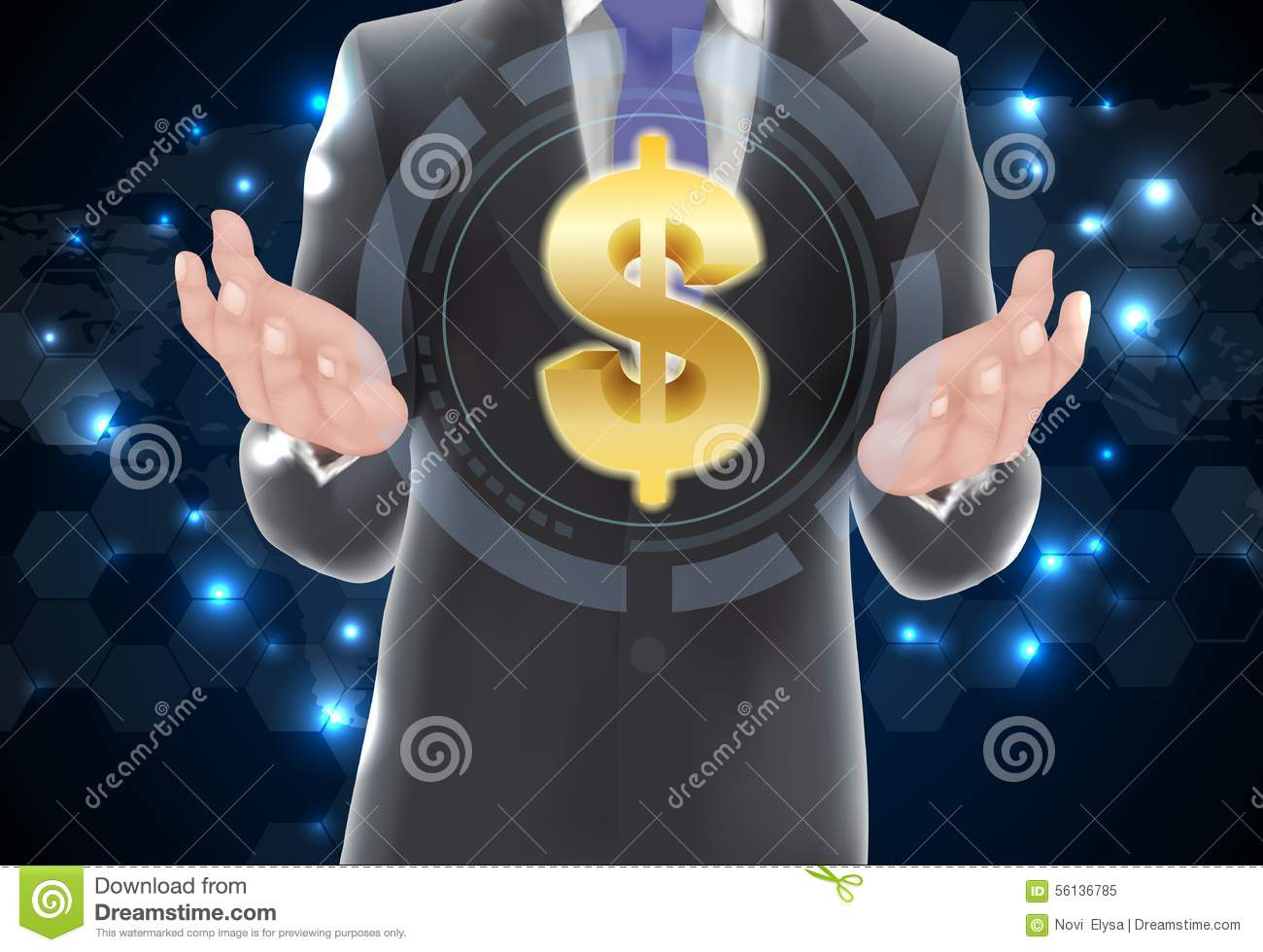 Man with icons money on gold Money Icon Vector