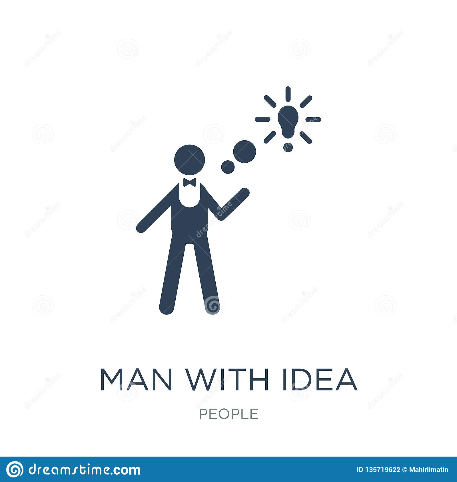 man with idea icon in trendy design style. man with idea icon isolated on white background. man with idea vector icon simple and