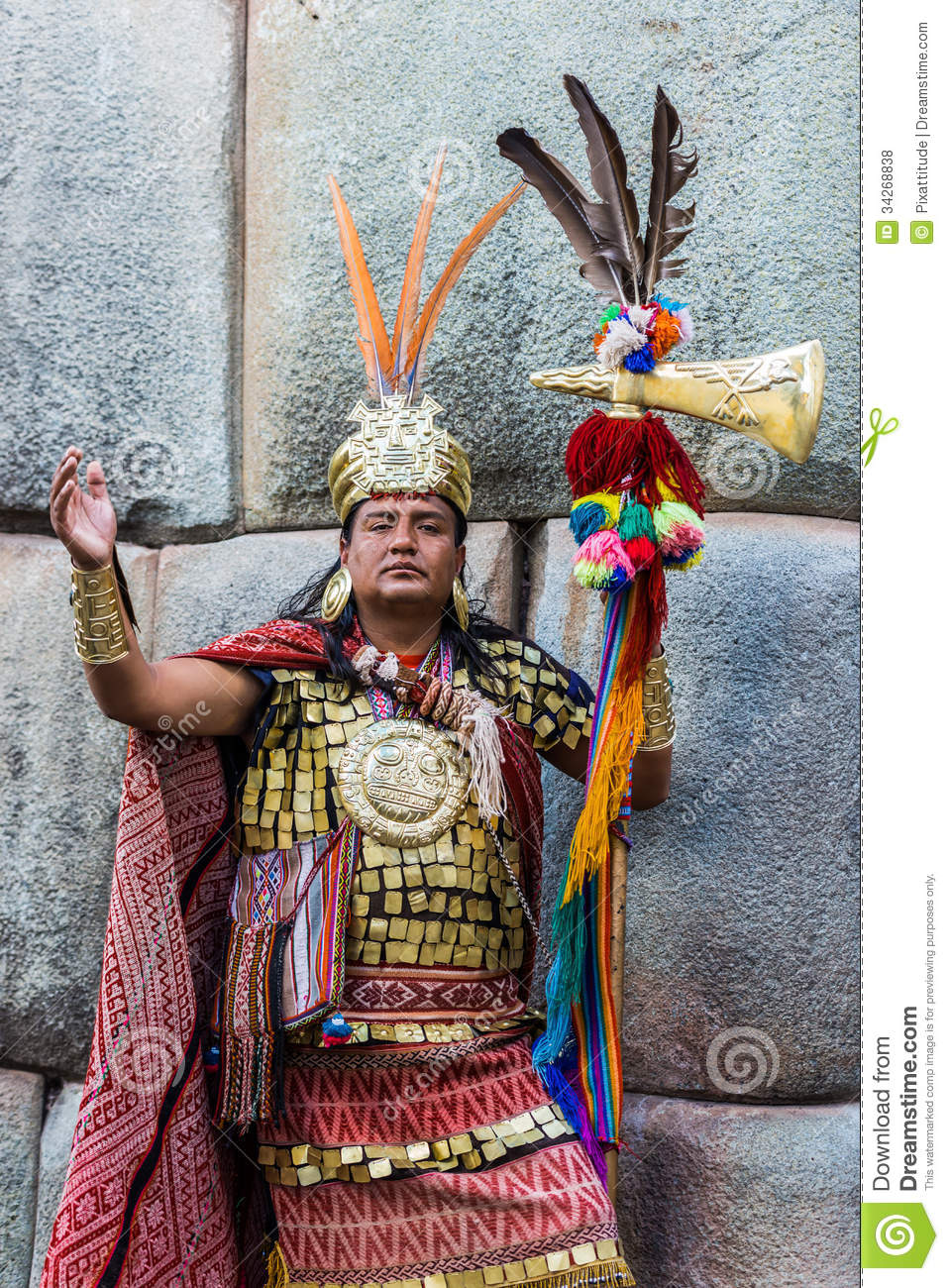 Cuzco, Peru - July 13, 2013: man disguised as Inca warrior in the ...