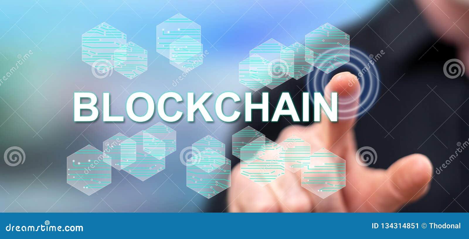 Man touching a blockchain concept