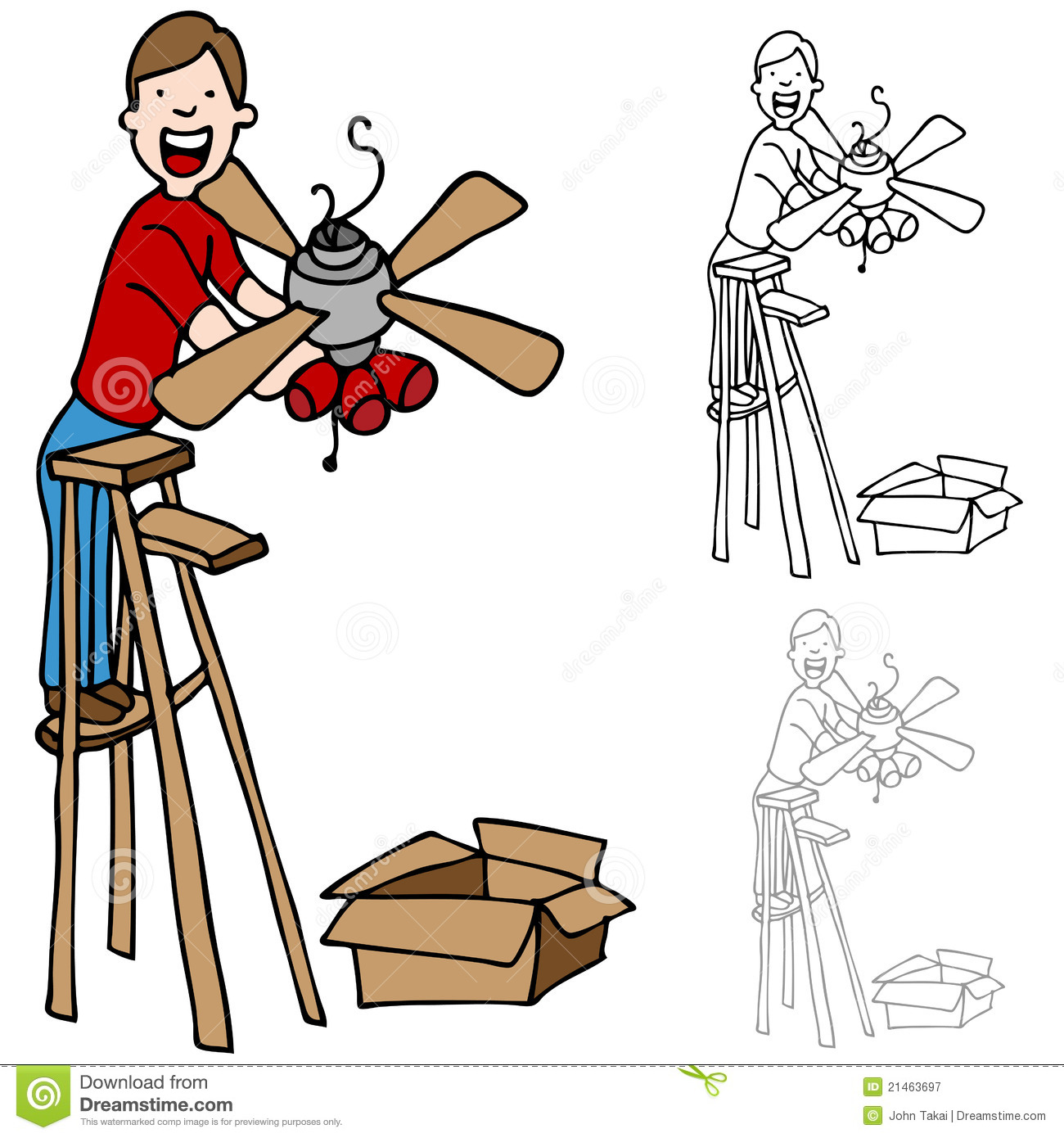 Man Installing A Ceiling Fan Royalty Free Stock