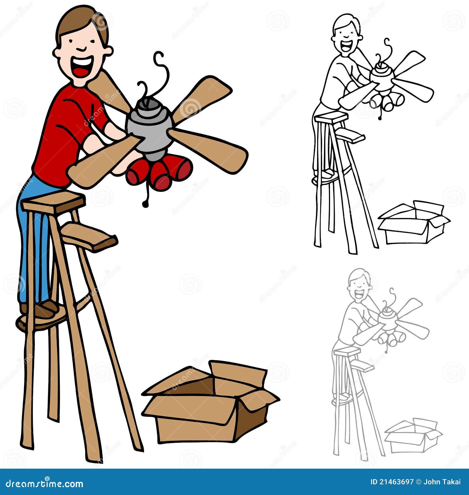 Man Installing A Ceiling Fan Stock Vector Illustration
