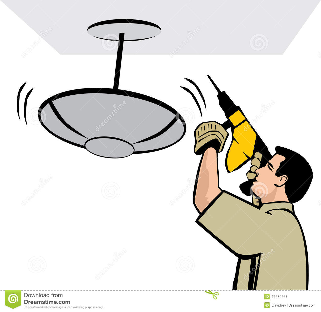 Man Installing A Ceiling Lamp Stock Photos